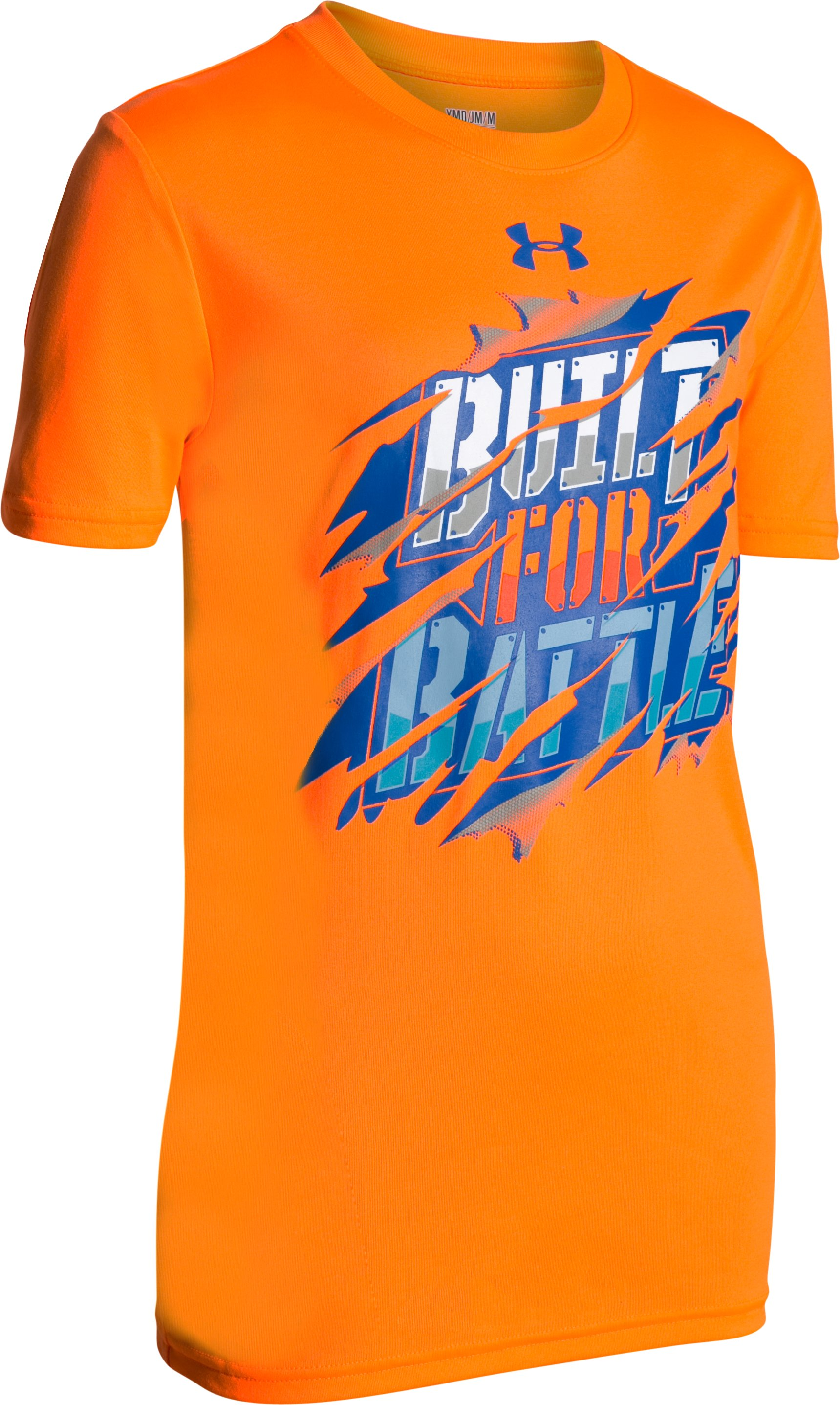 Boys' UA Built For Battle T-Shirt, TRAFFIC CONE ORANGE