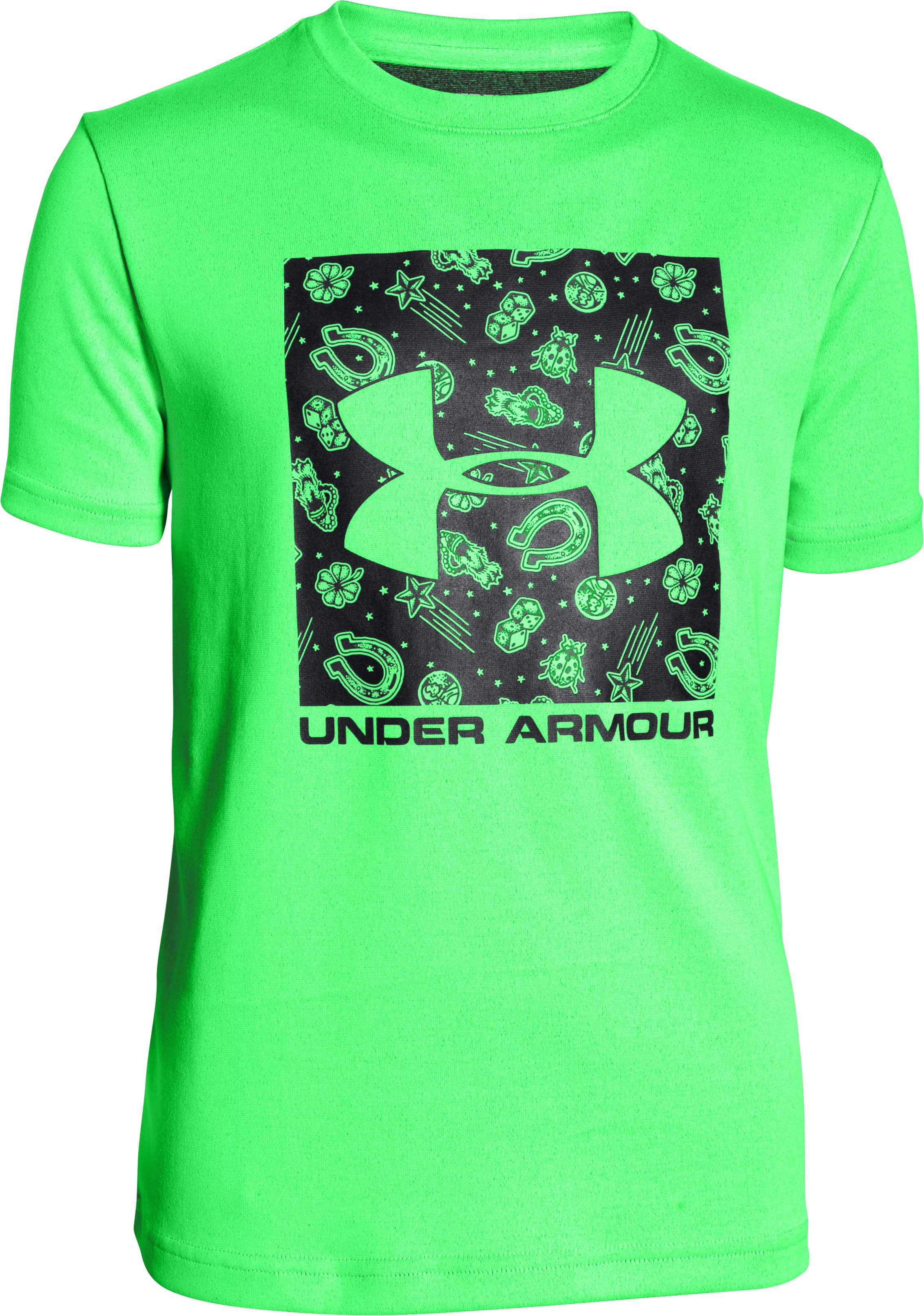 Boys' UA Luck Of The Logo T-Shirt, LASER GREEN, zoomed image
