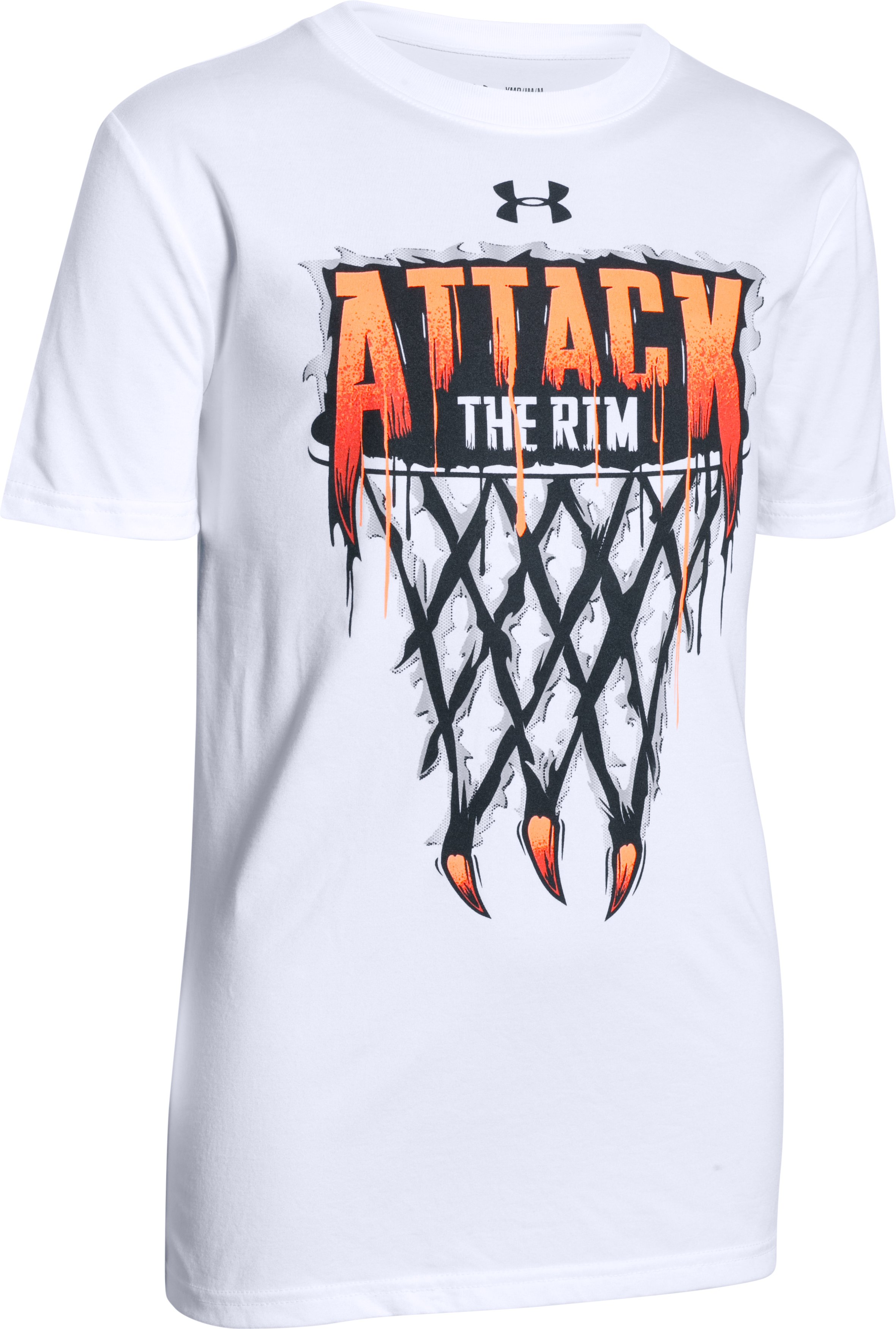 Boys UA Attack The Rim T-Shirt, White, zoomed image