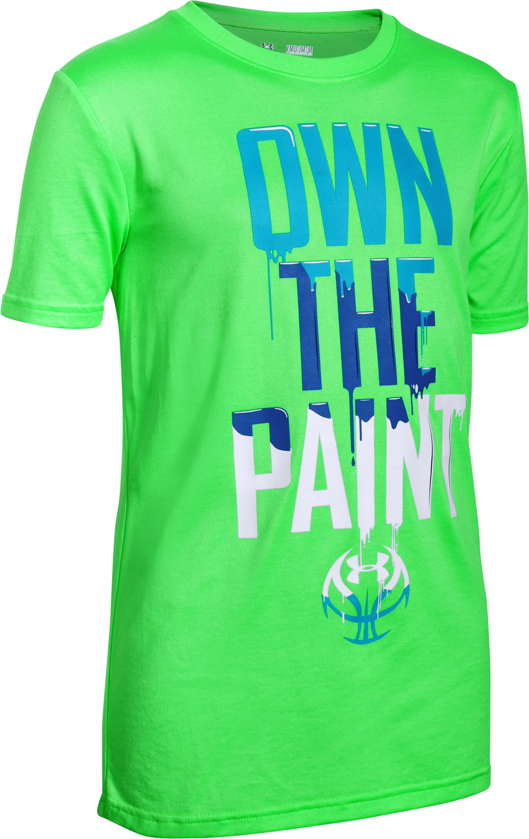 Boys' UA Own The Paint T-Shirt, LASER GREEN