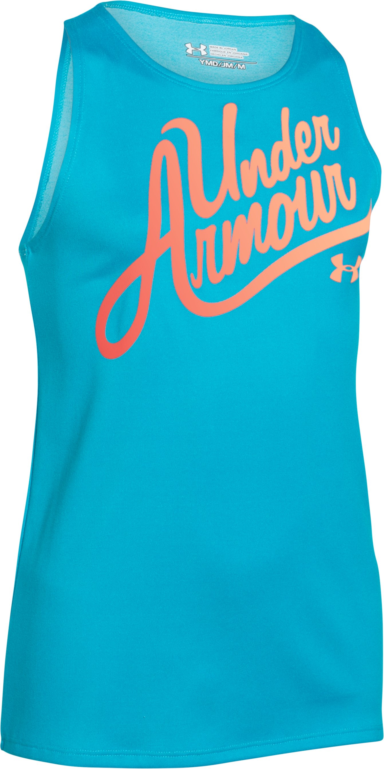 Girls' UA Aloha Wordmark Tank, MERIDIAN BLUE, zoomed image