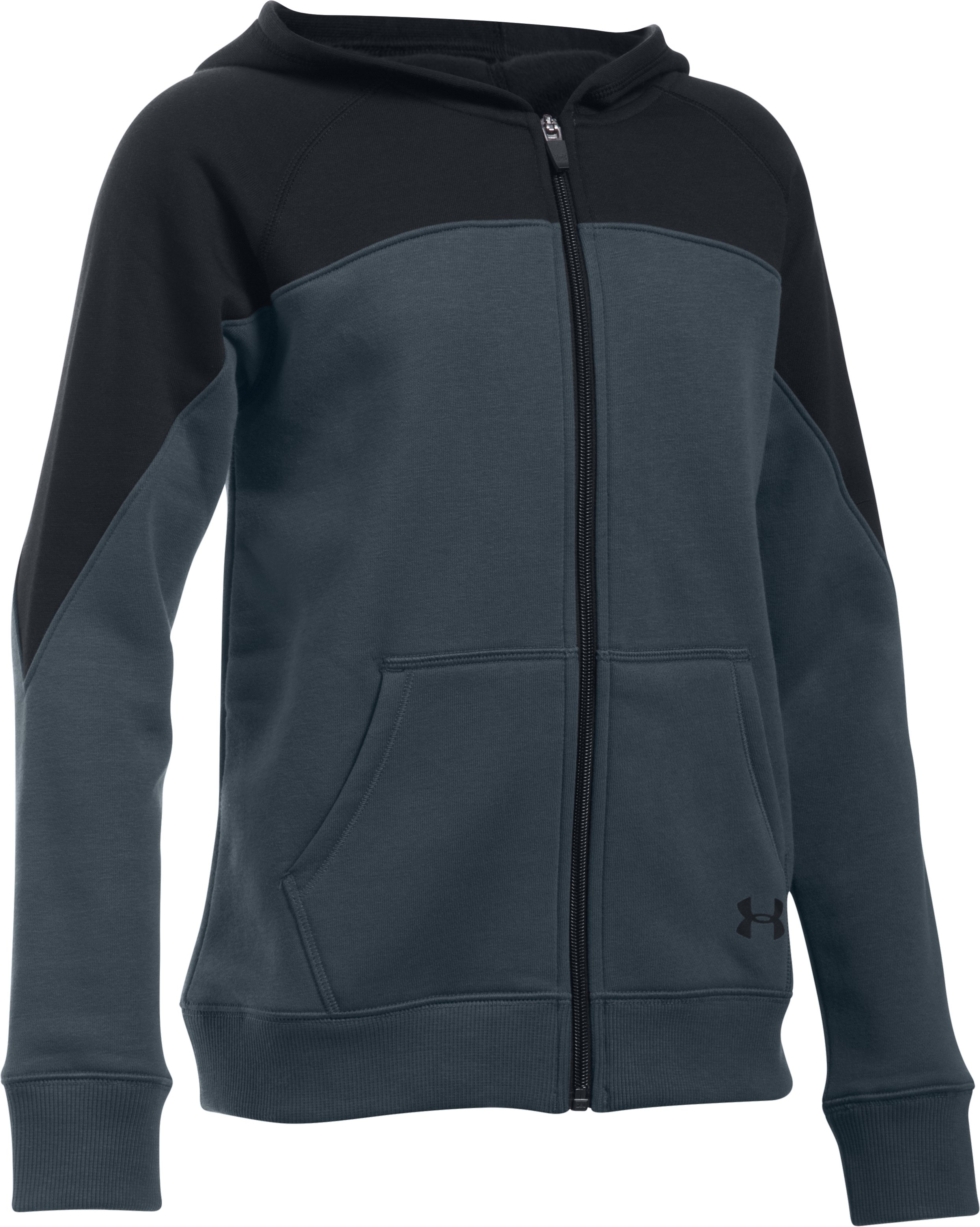 Girls' UA Quick Pass Full Zip Hoodie, STEALTH GRAY, zoomed image