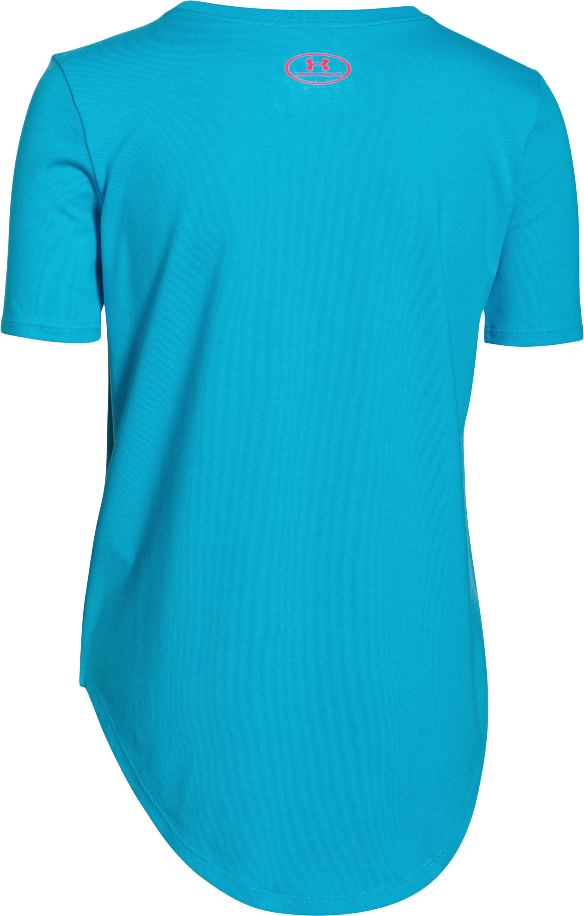 Girls' UA The Sky Is The Limit Short Sleeve , MERIDIAN BLUE