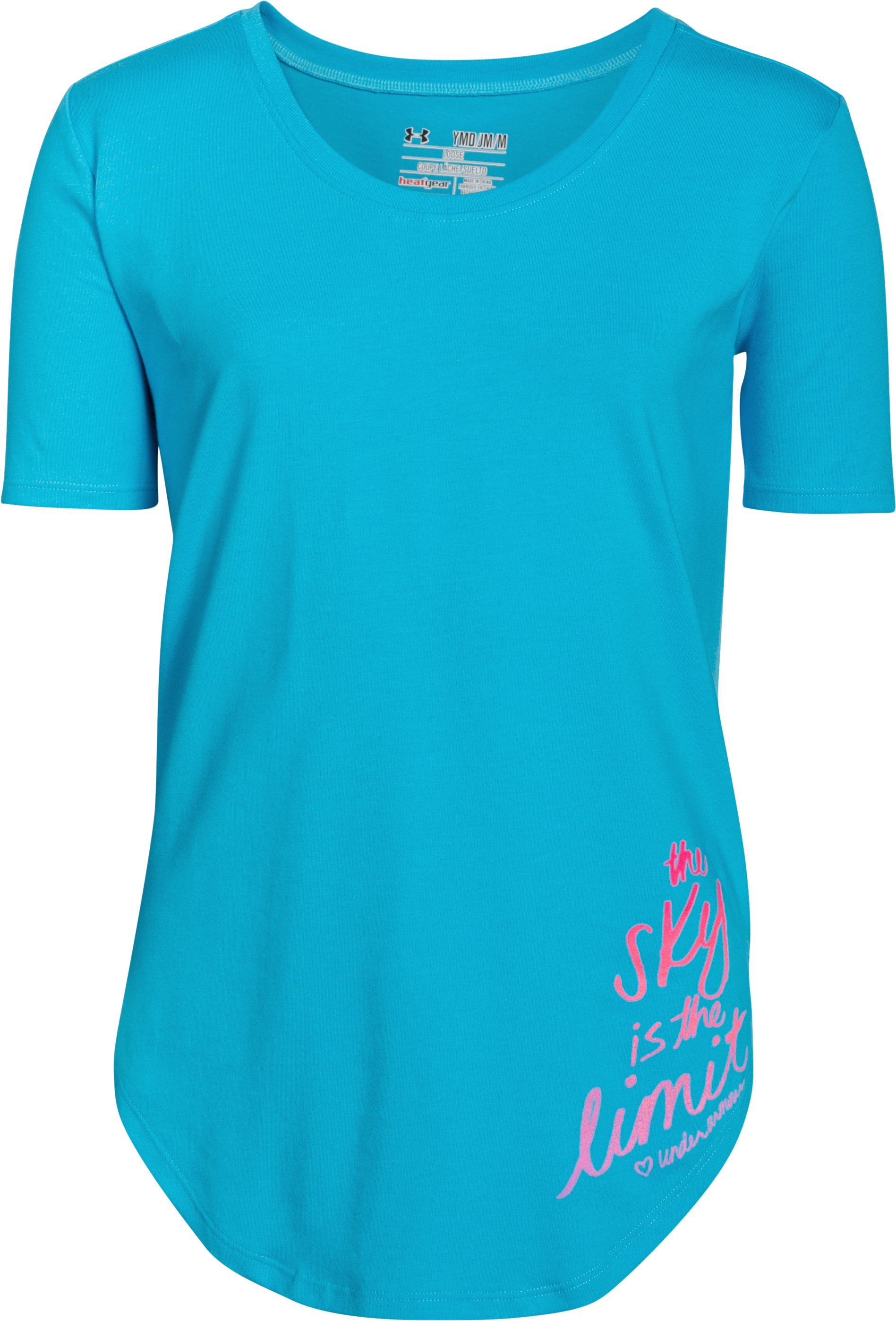 Girls' UA The Sky Is The Limit Short Sleeve , MERIDIAN BLUE, zoomed image