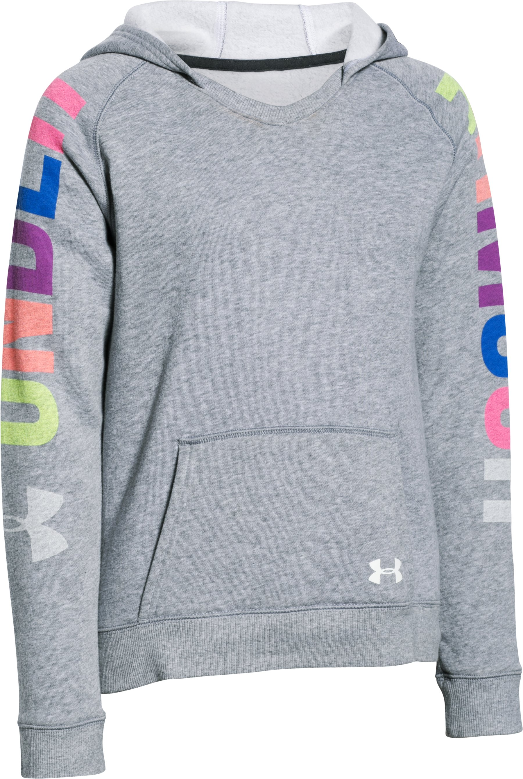 Girls' UA Favorite Fleece Hoodie , True Gray Heather, zoomed image