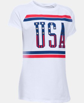 Best Seller Girls' UA USA Short Sleeve LIMITED TIME: FREE SHIPPING 1 Color $24.99