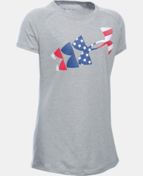 New Arrival Girls' UA USA Flag Logo Short Sleeve  1 Color $19.99