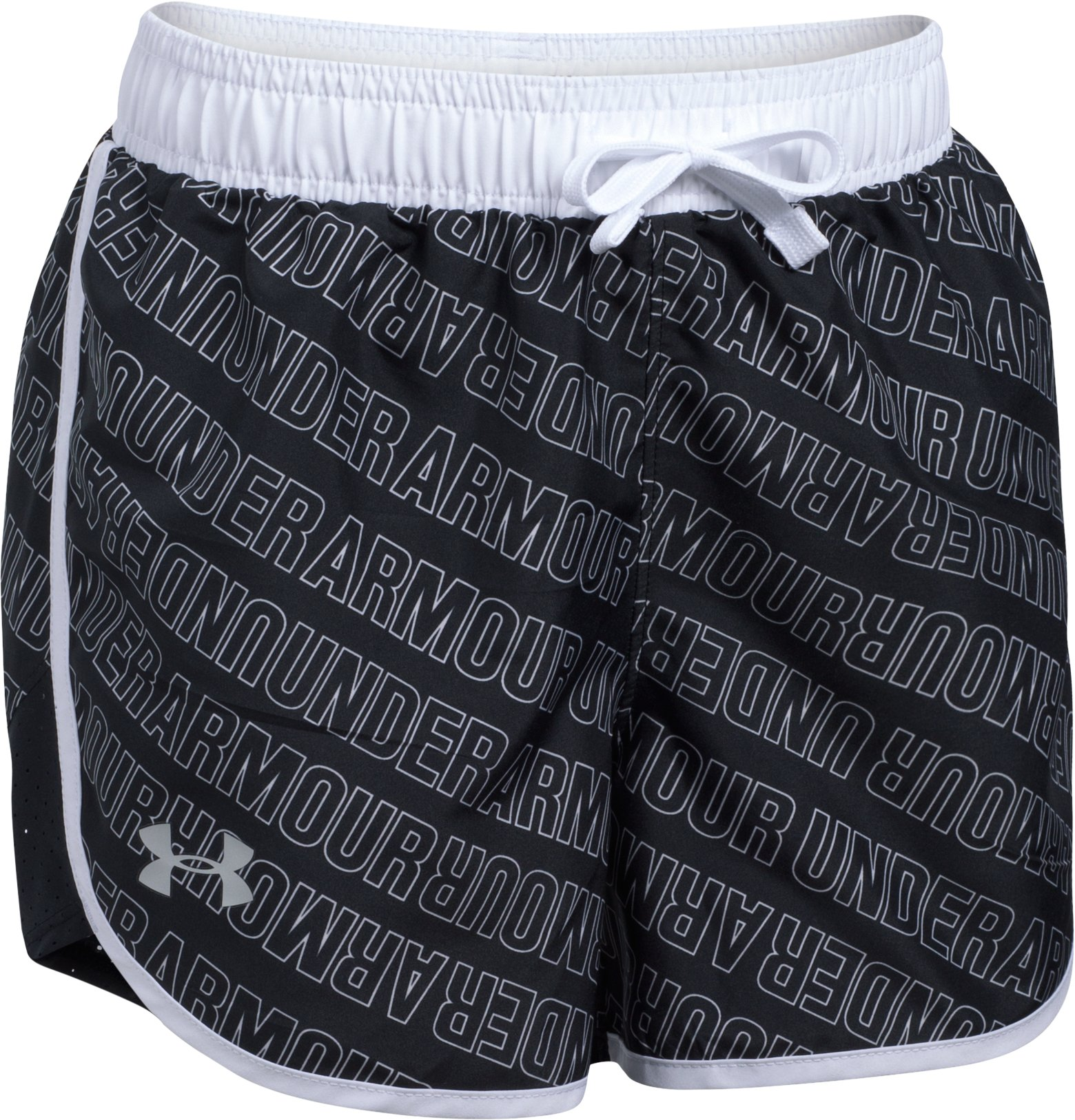 Girls' UA Fast Lane Printed Shorts, Black ,