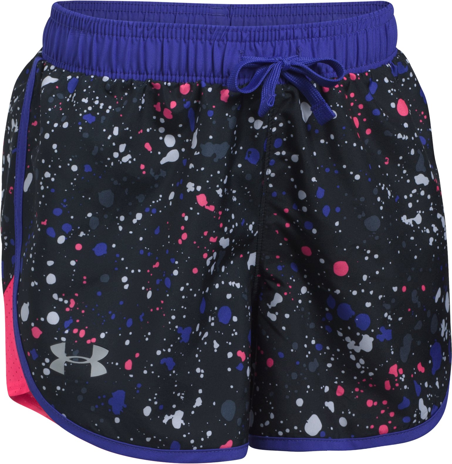 Girls' UA Fast Lane Printed Shorts, Black , undefined