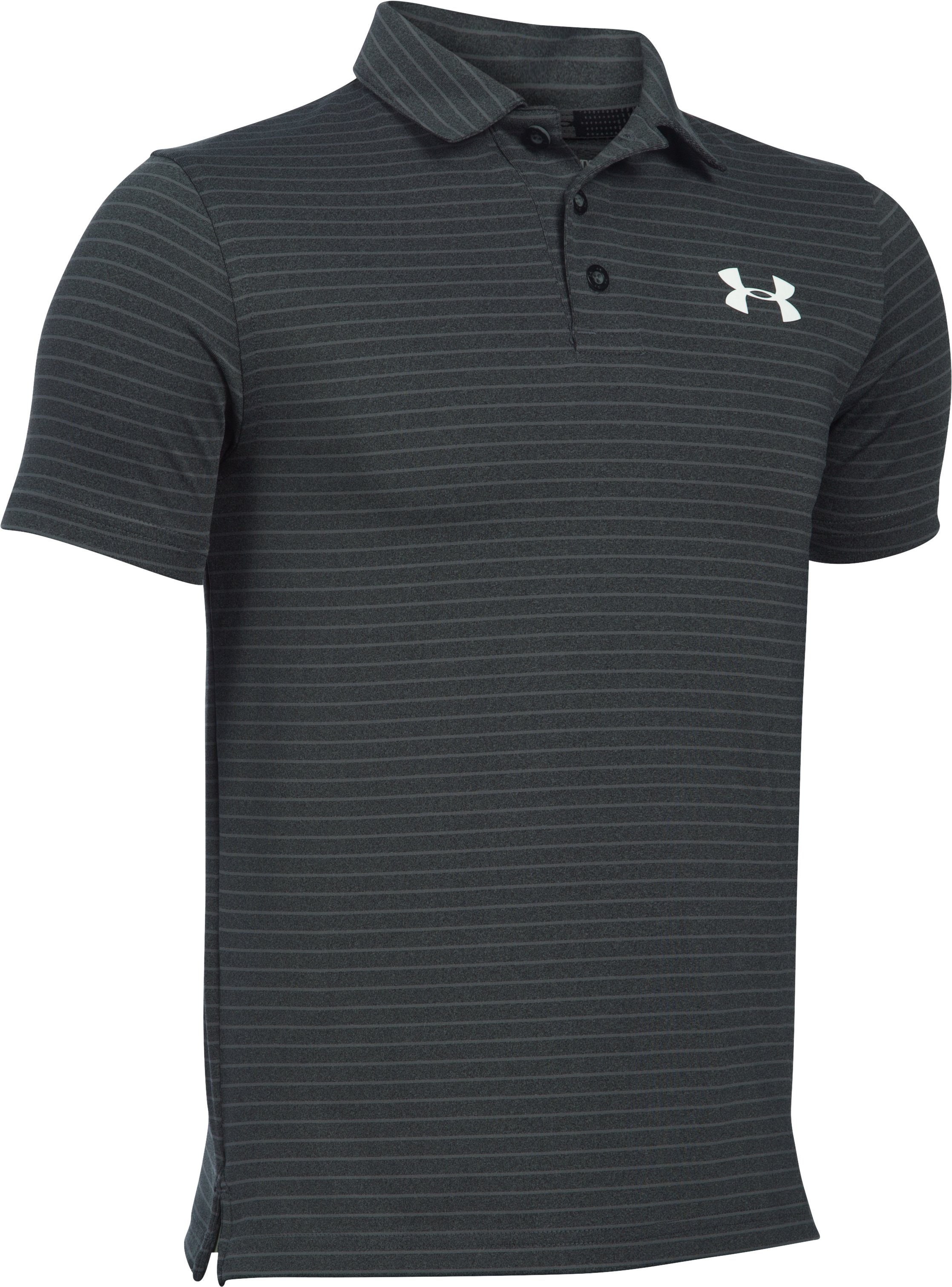 Boys' UA Composite Stripe Polo , Asphalt Heather, zoomed image