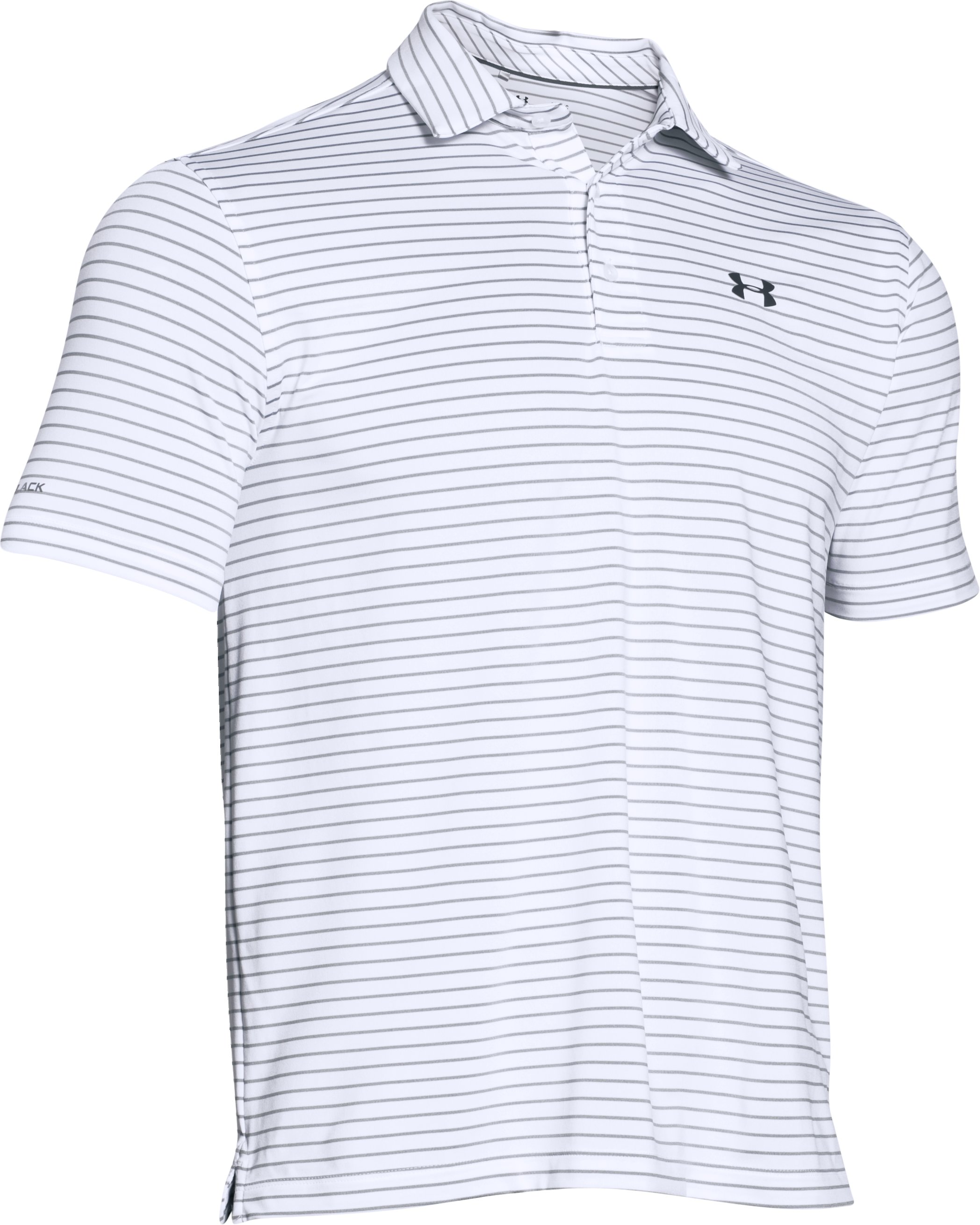 Men's UA coldblack® Address Stripe Polo, White, undefined