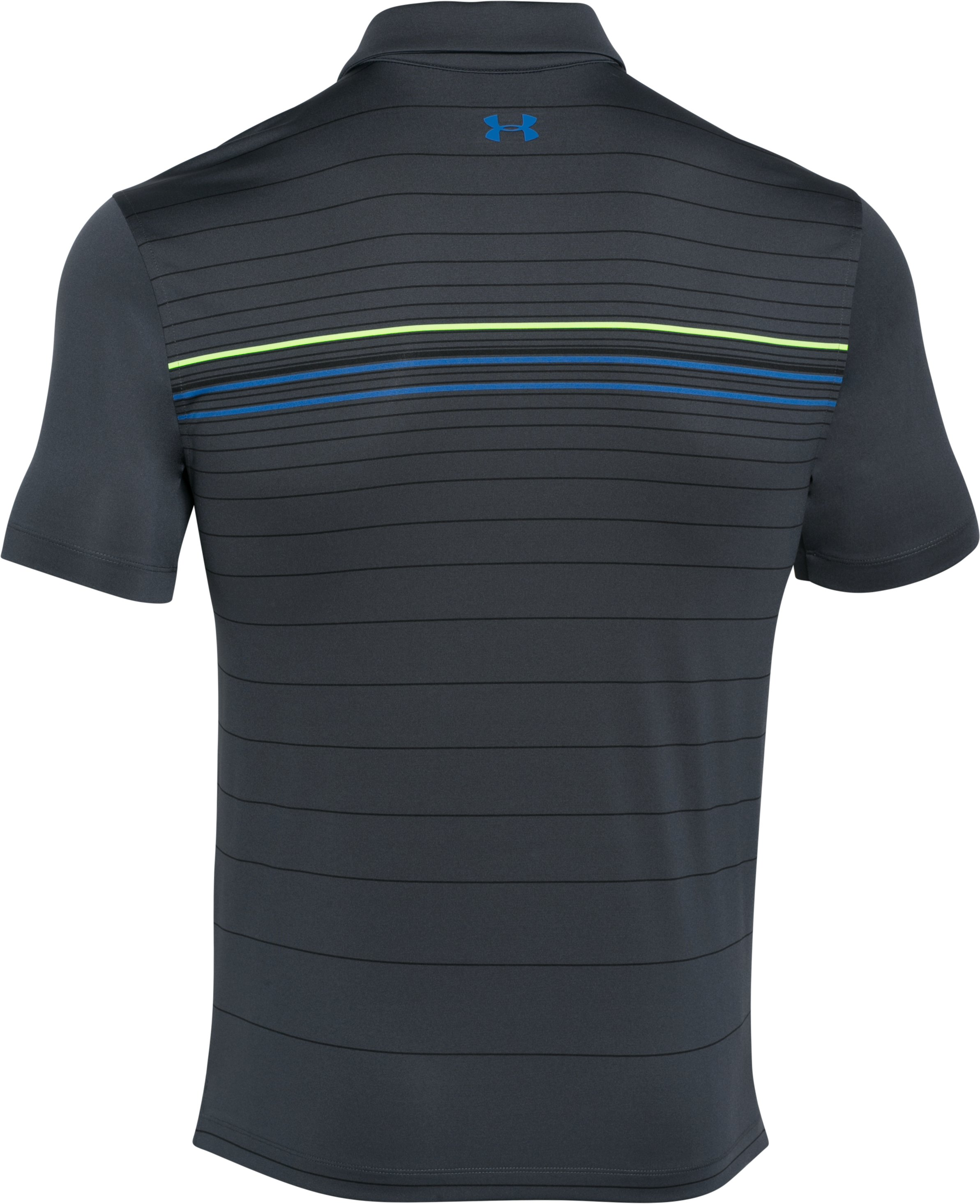 Men's UA coldblack® Engineered Stripe Polo, STEALTH GRAY,