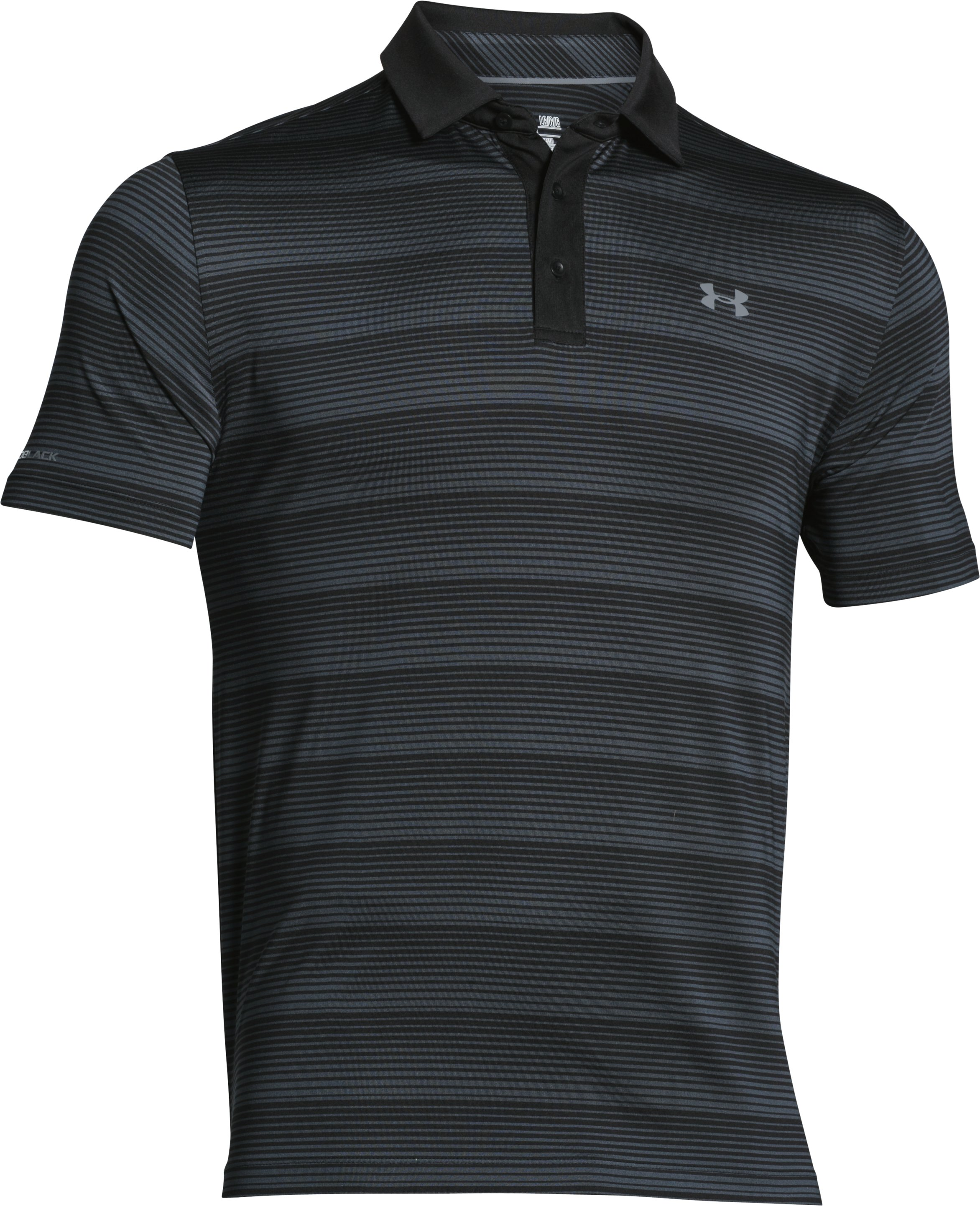 Men's UA coldblack® Chip In Stripe Polo, Black