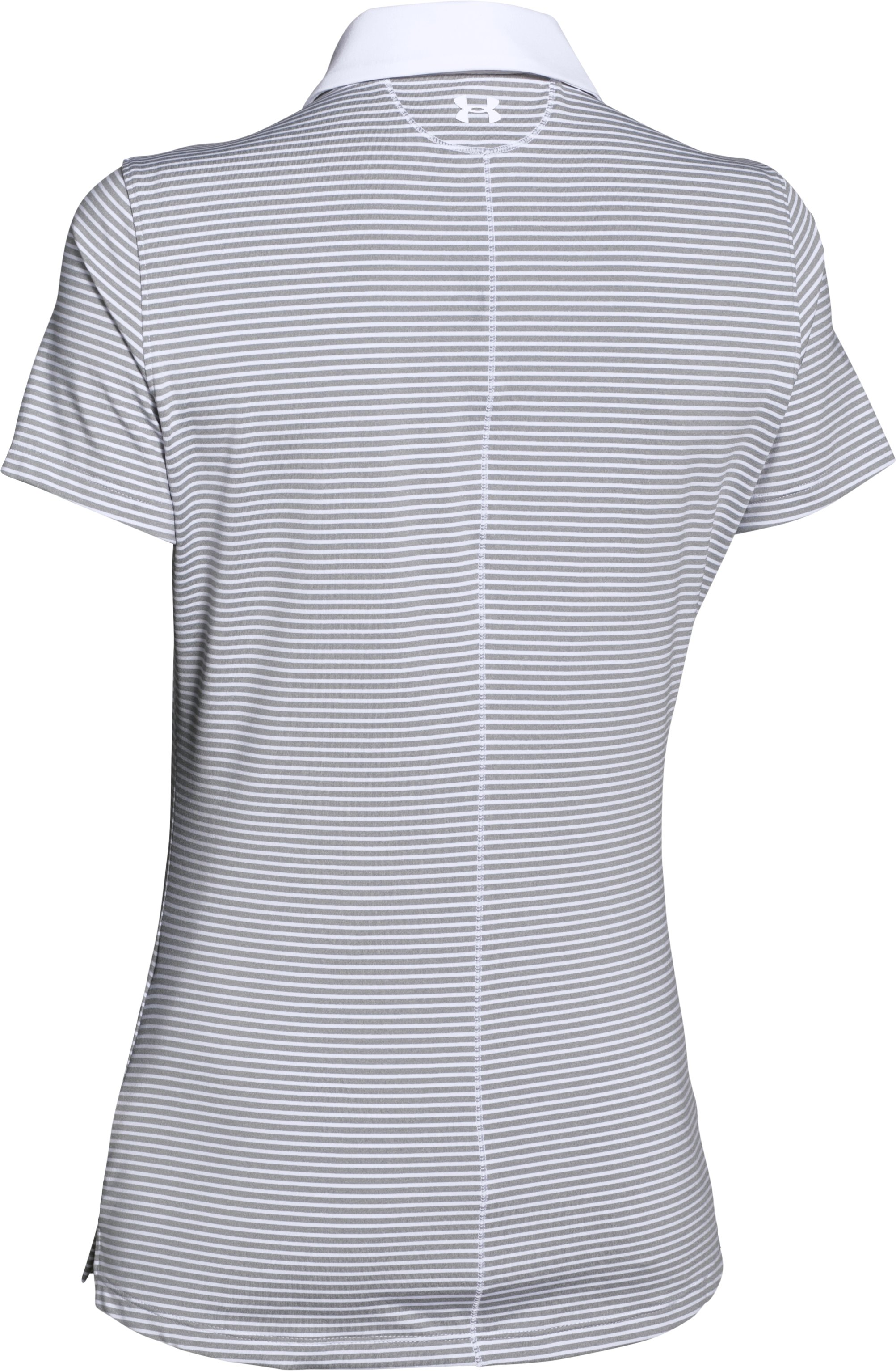 Women's UA Zinger Stripe Short Sleeve Polo, White, undefined