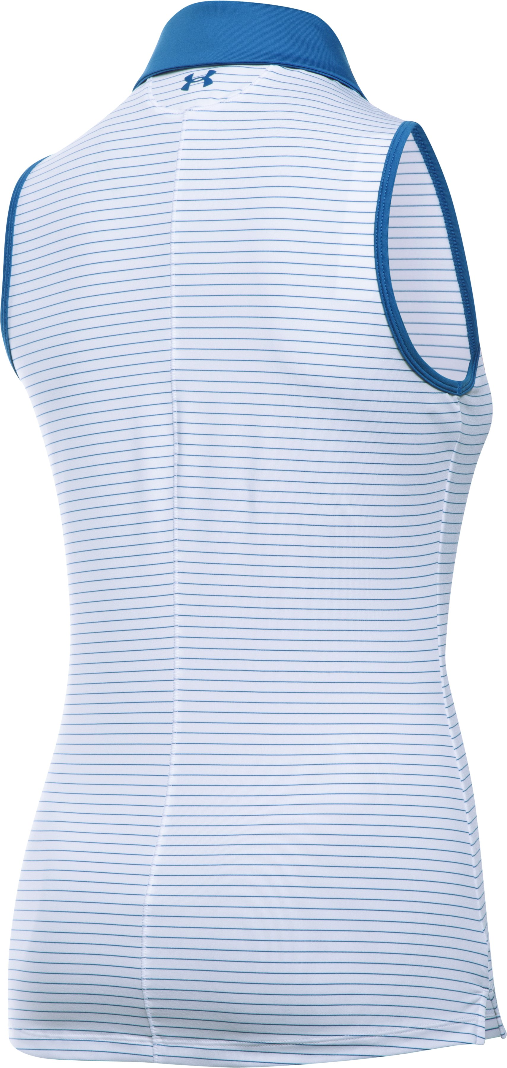 Women's UA Zinger Stripe Sleeveless Polo, White,