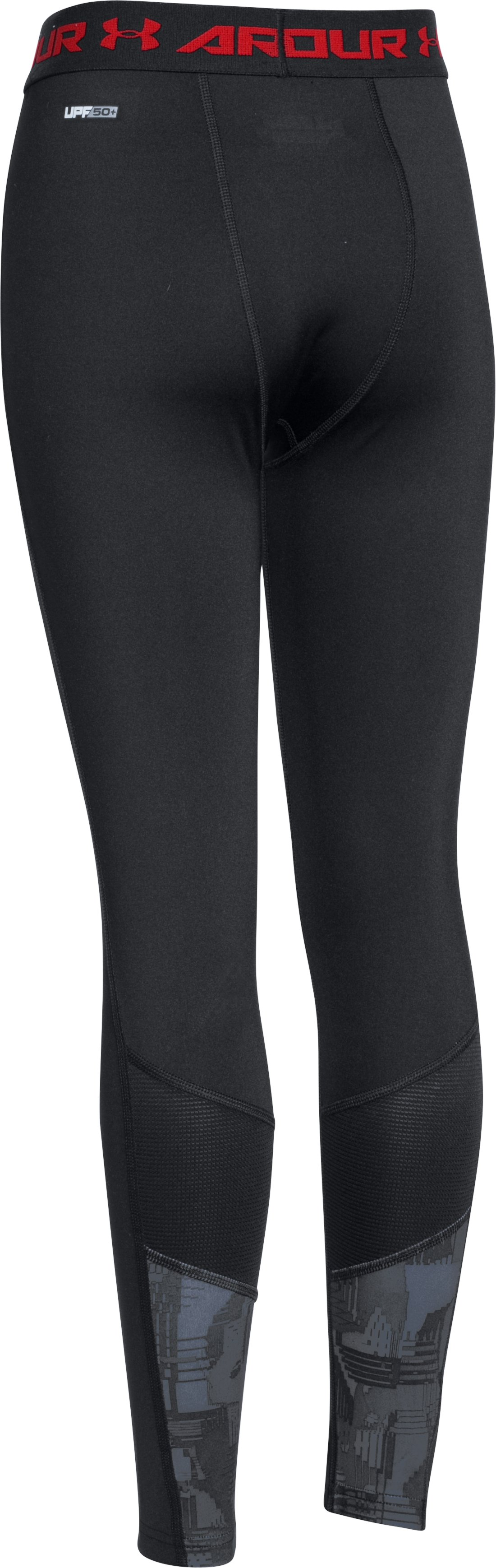 Boys' UA HeatGear® Armour Up Fitted Leggings, Black ,