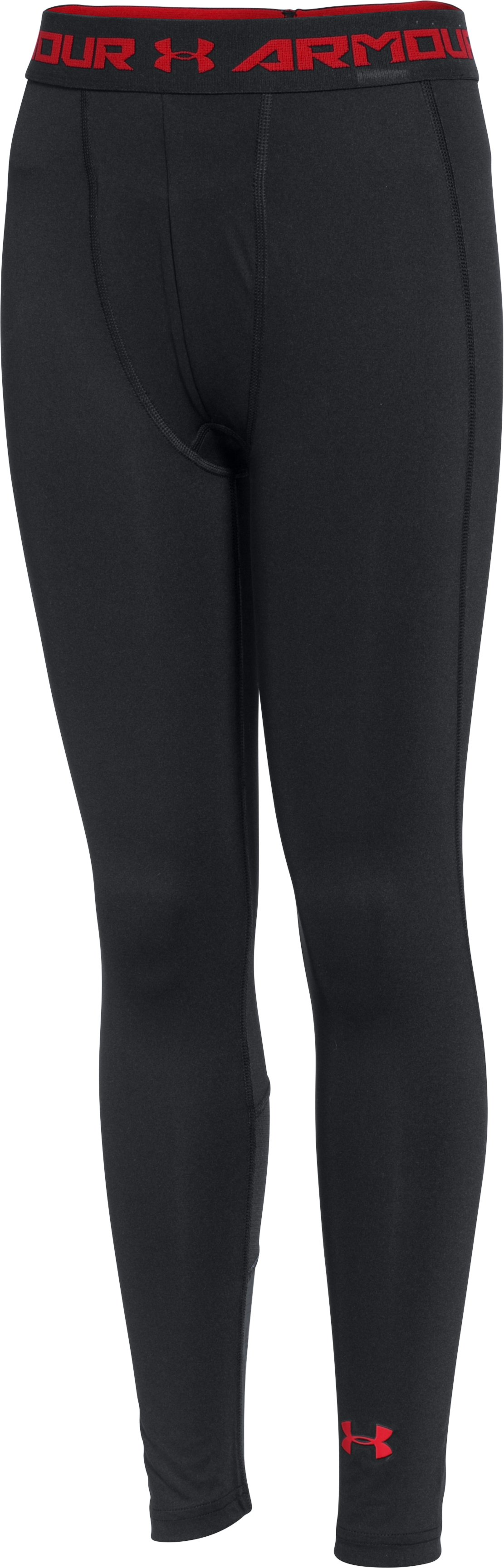 Boys' UA HeatGear® Armour Up Fitted Leggings, Black , zoomed image