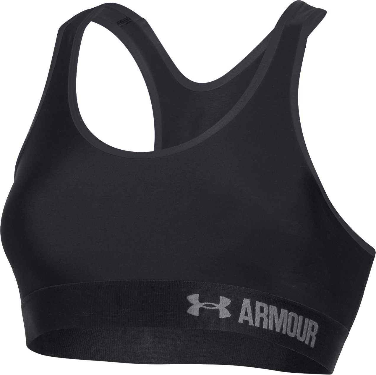 Women's Armour® Mid Sports Bra, Black , undefined