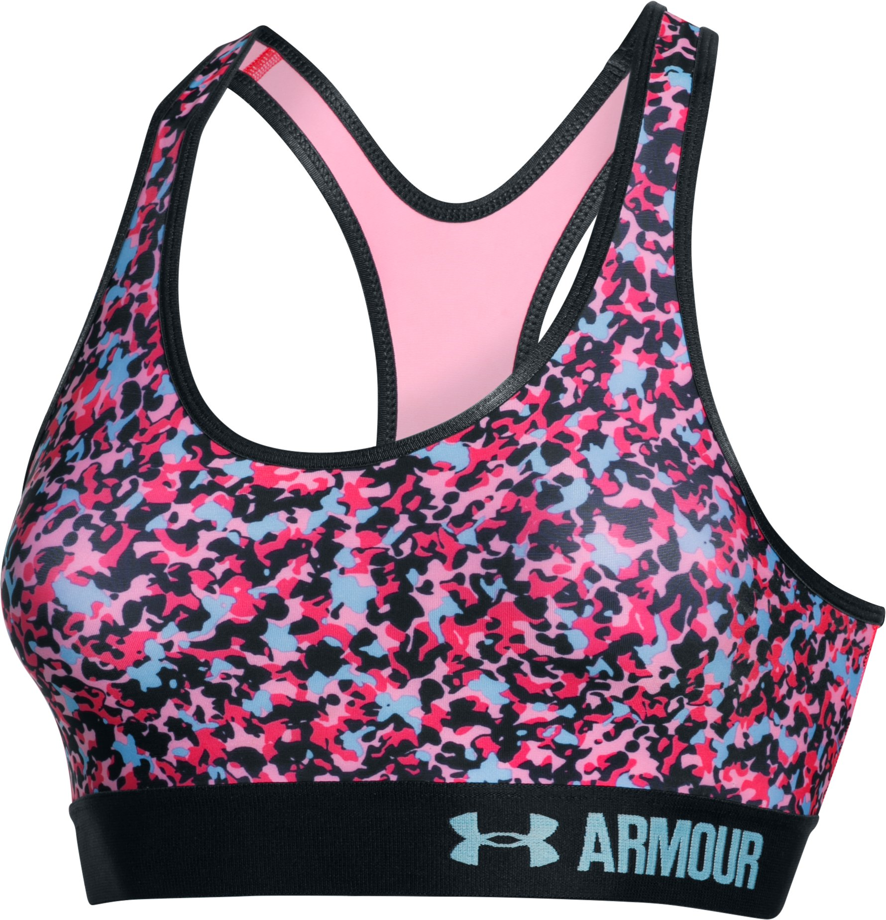 Women's Armour® Mid – Printed Sports Bra, PINK CRAZE