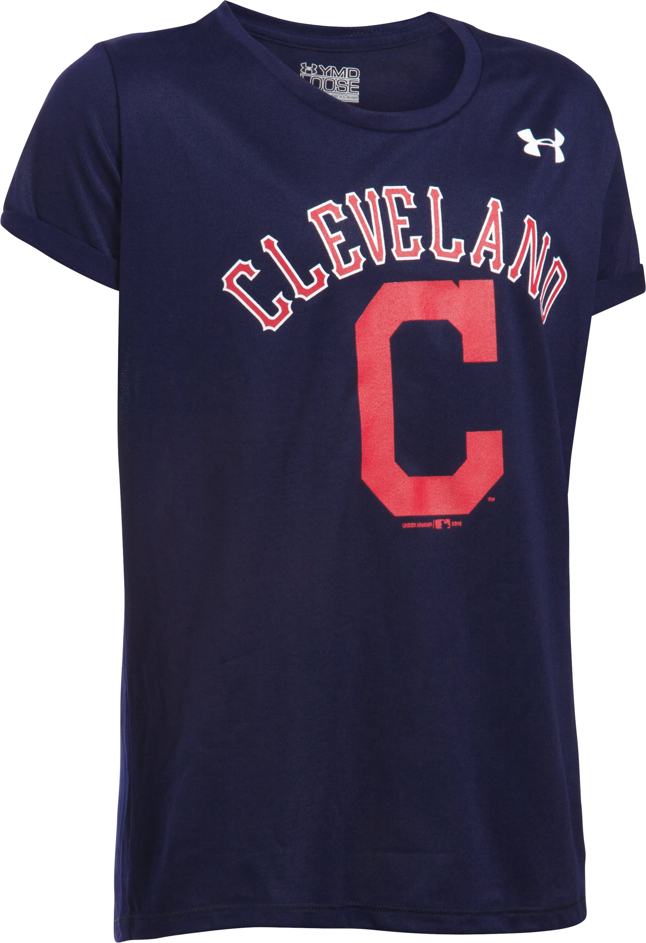 Girls' Cleveland Indians UA Tech™ T-Shirt, Midnight Navy, undefined