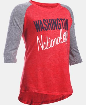 Girls' Washington Nationals UA Tri-Blend ¾ Sleeve   $26.99