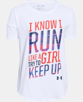 Best Seller Girls' UA Run Like A Girl Short Sleeve  LIMITED TIME: FREE U.S. SHIPPING 1 Color $24.99