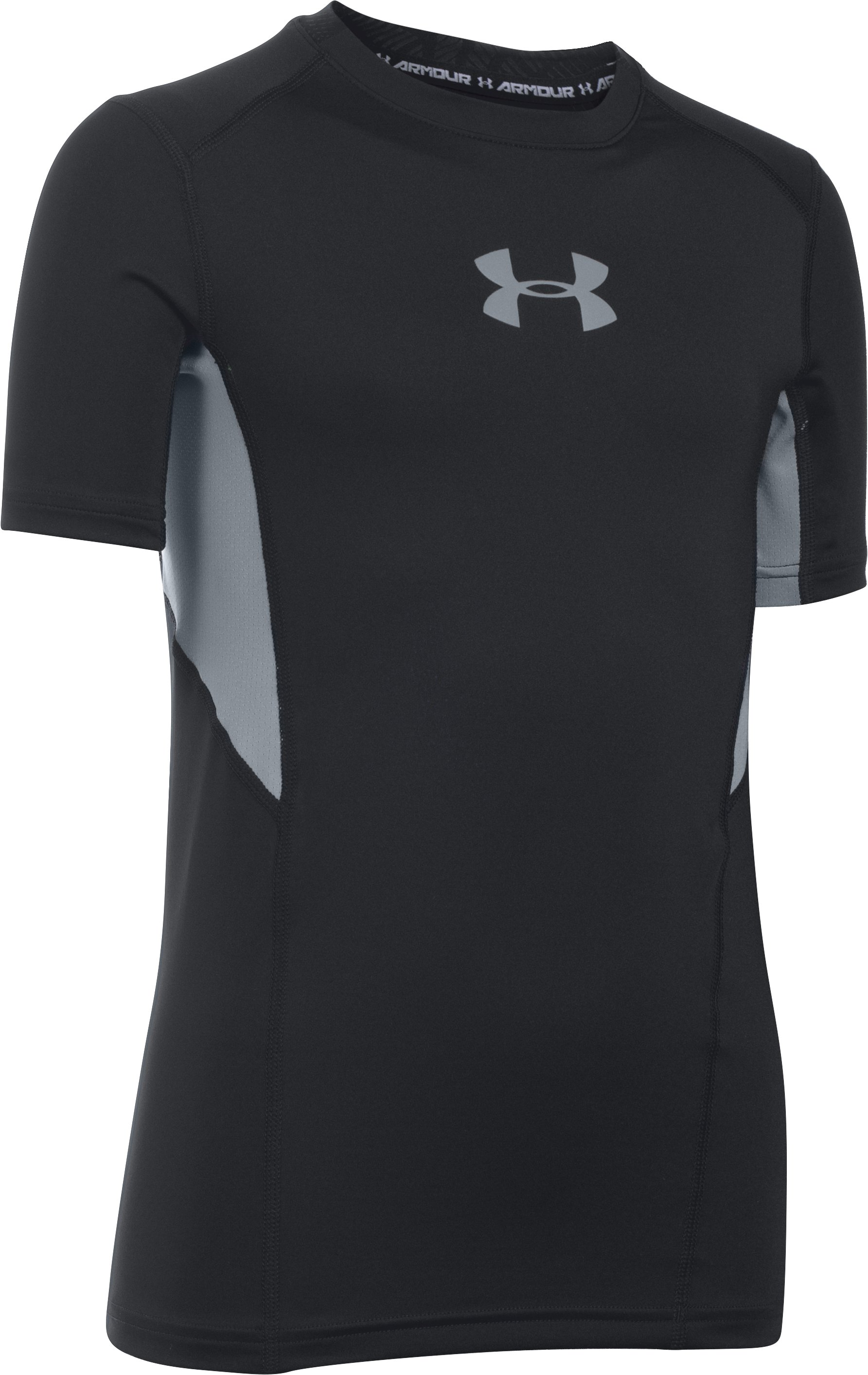 Boys' UA CoolSwitch Fitted Short Sleeve Shirt, Black , undefined