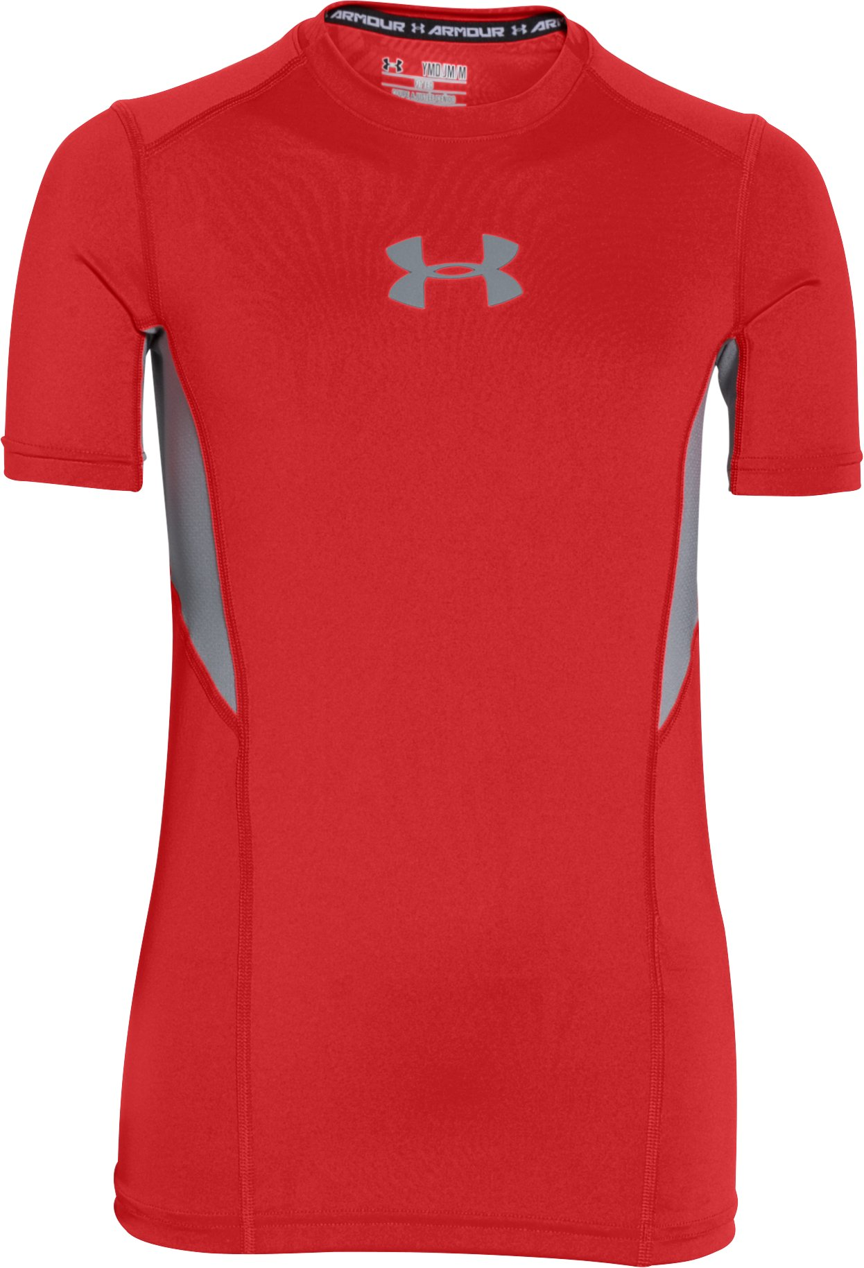 Boys' UA CoolSwitch Fitted Short Sleeve Shirt, RISK RED