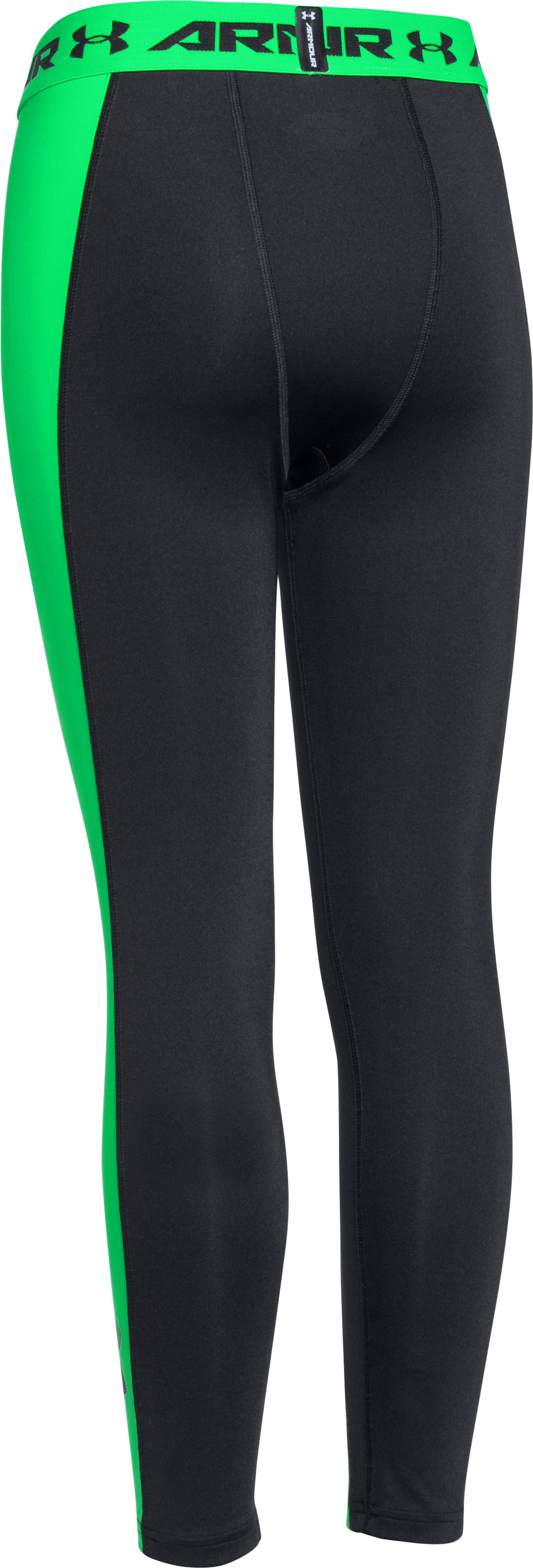 Boys' UA HeatGear® Armour Up Logo Fitted Leggings, Black ,