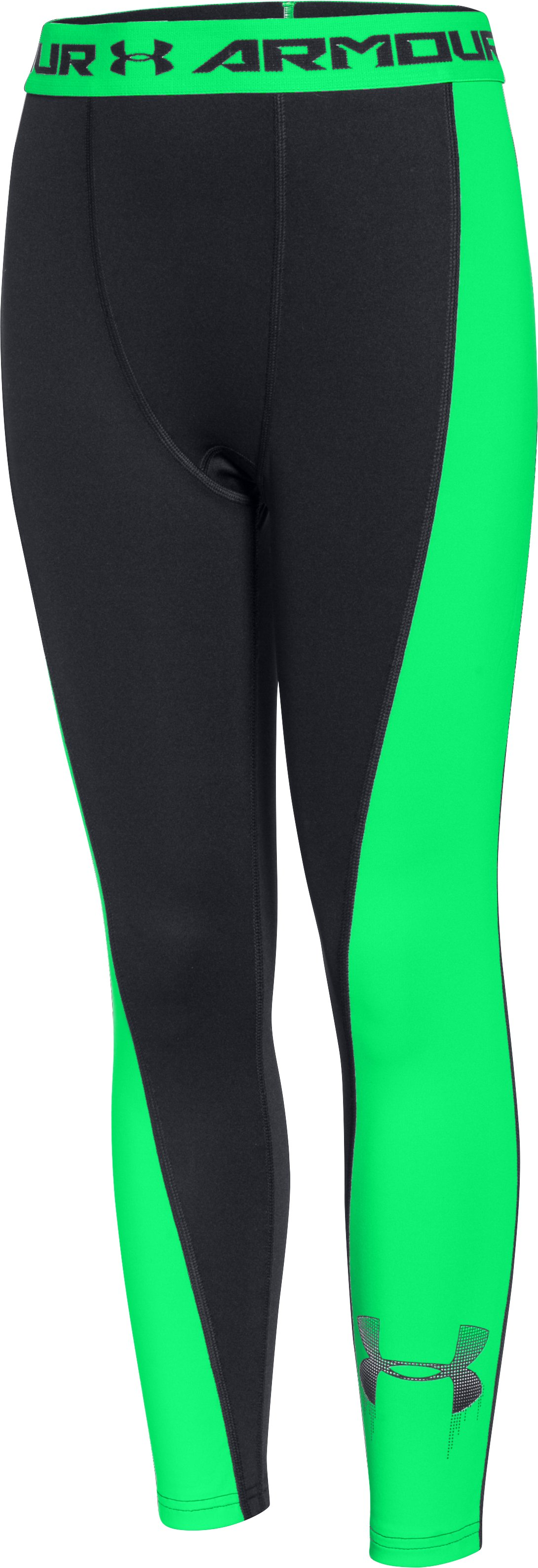 Boys' UA HeatGear® Armour Up Logo Fitted Leggings, Black