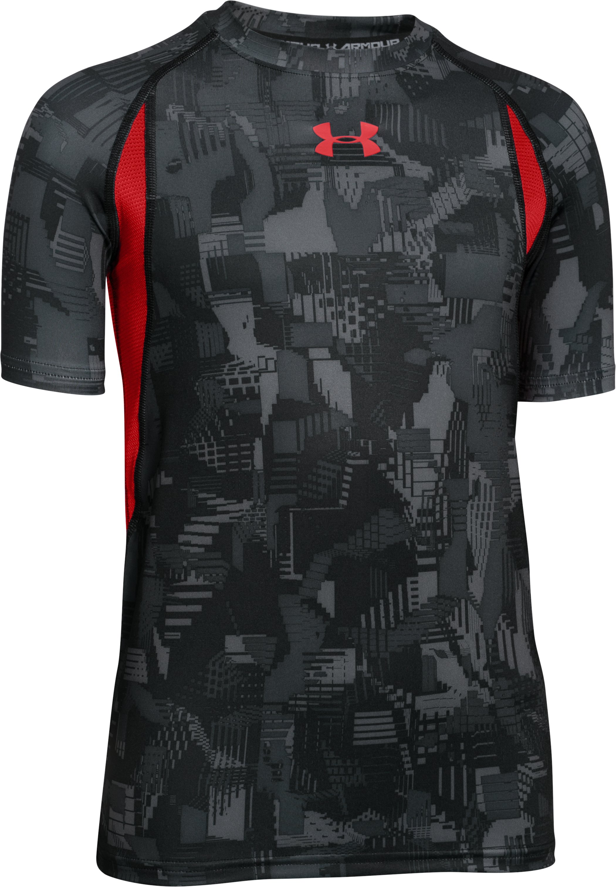 Boys' UA HeatGear® Armour Up Printed Fitted Short Sleeve Shirt, STEALTH GRAY