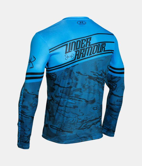 Men 39 s ua fishing jersey under armour us for Blue fishing nj