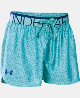 New Arrival  Girls' UA Printed Play Up Shorts LIMITED TIME: FREE SHIPPING 1 Color $25.99