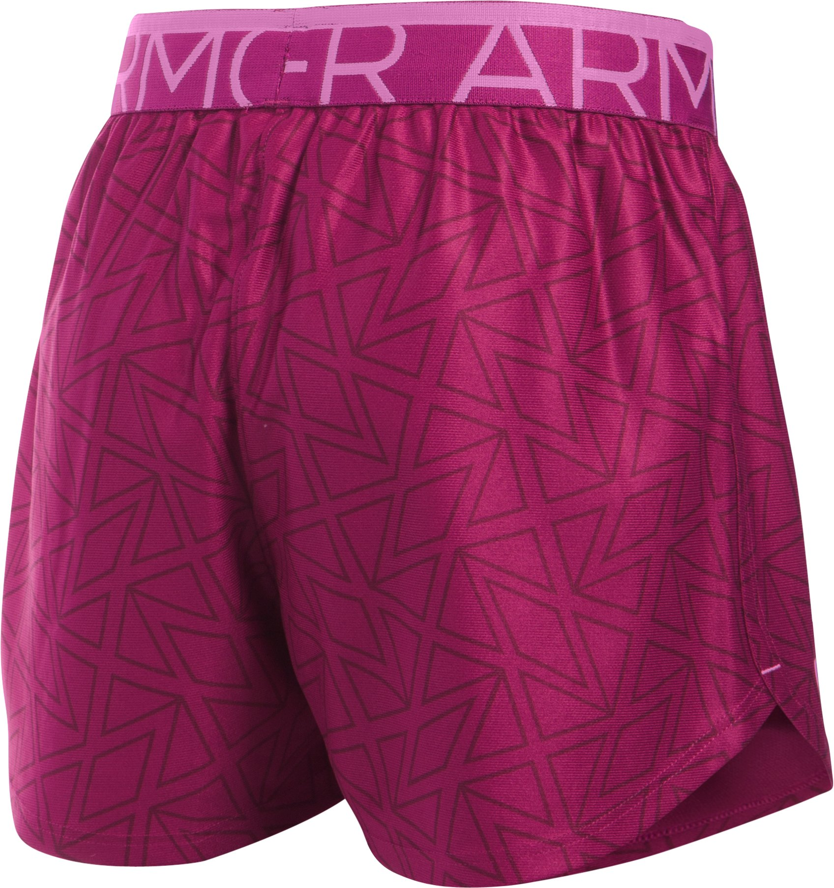 Girls' UA Printed Play Up Shorts, BLACK CHERRY, undefined