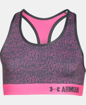 New to Outlet Girls' UA HeatGear® Armour Printed Sports Bra  1 Color $11.24 to $18.99