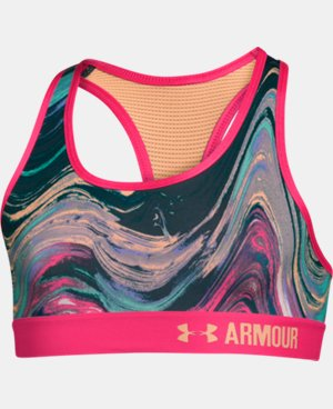 New Arrival  Girls' UA HeatGear® Armour Printed Sports Bra  1 Color $22.99 to $29.99