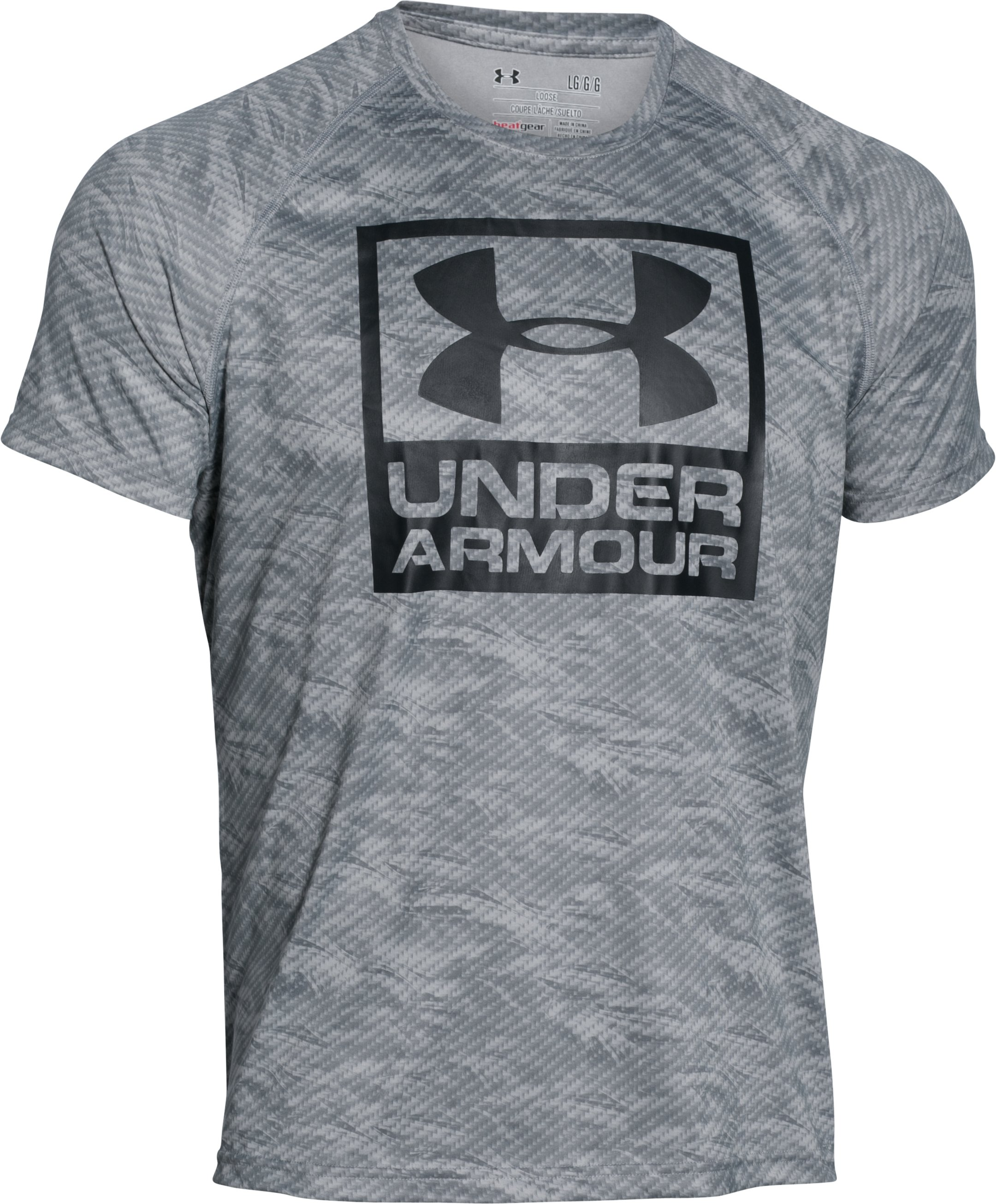 Men's UA Boxed Logo Printed T-Shirt, Steel,