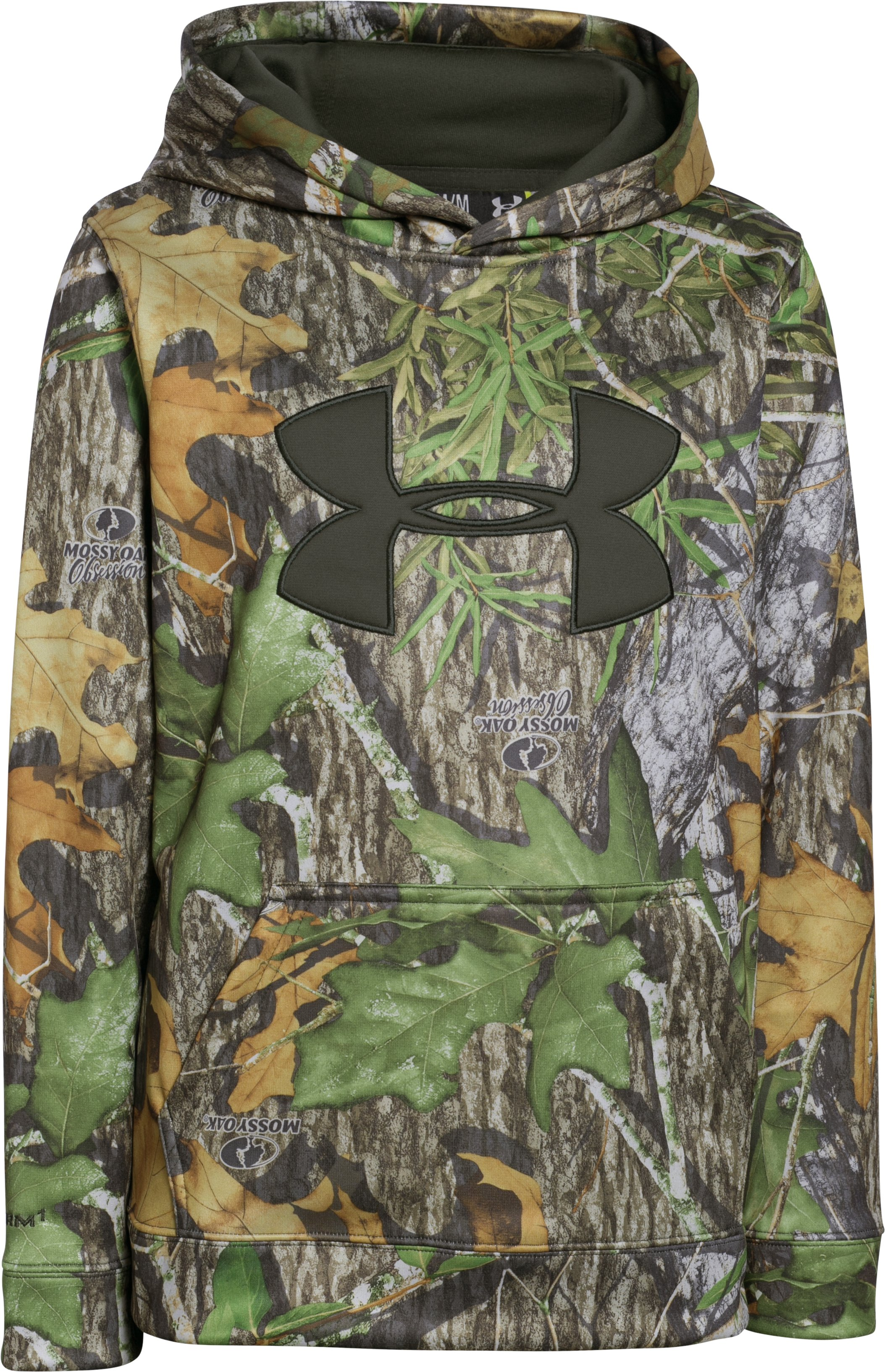 Boys' Armour Fleece® Camo Big Logo Hoodie, Mossy Oak Obsession, undefined