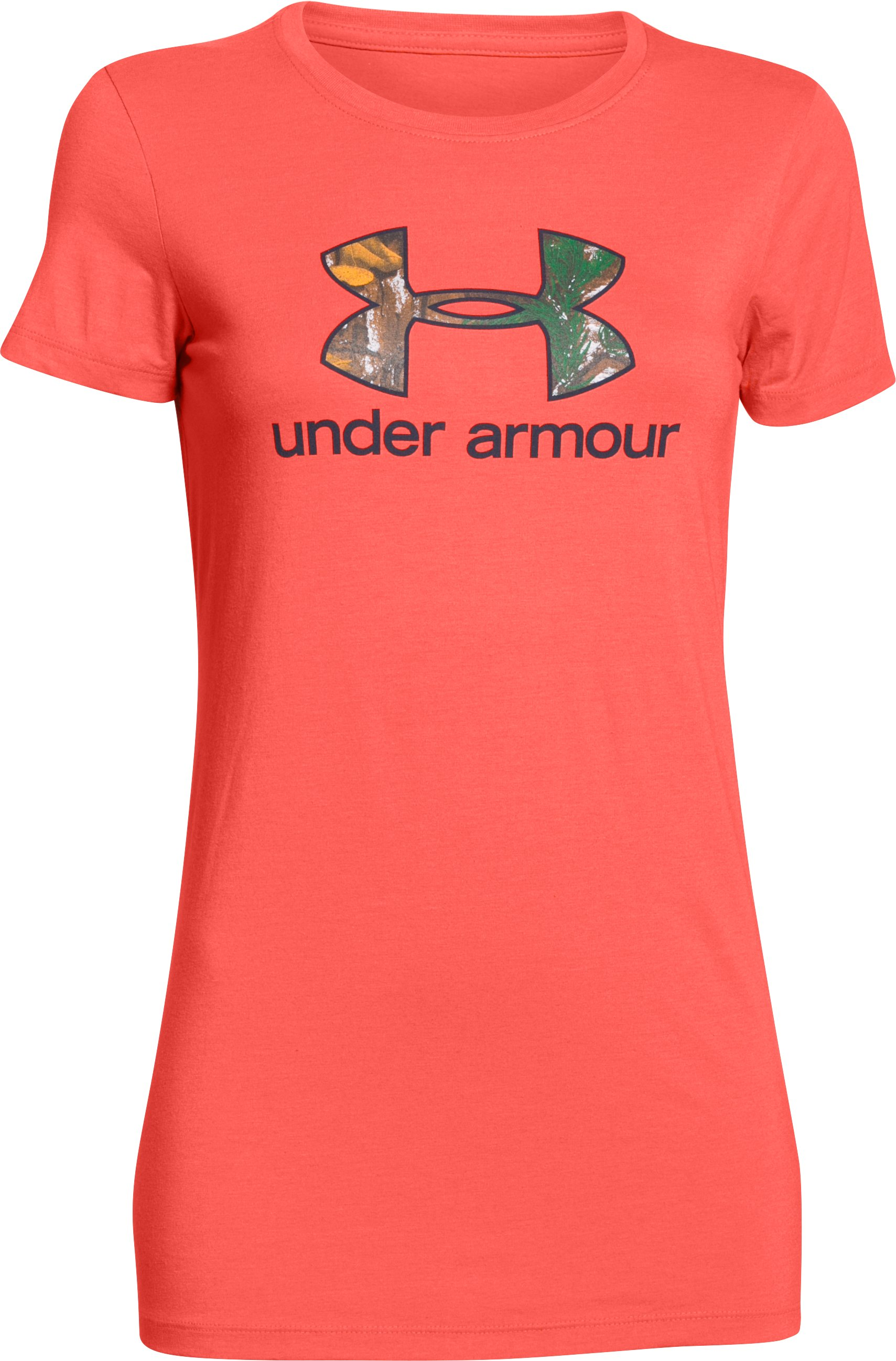 Women's UA Charged Cotton Tri-Blend Camo Logo T-Shirt, AFTER BURN,
