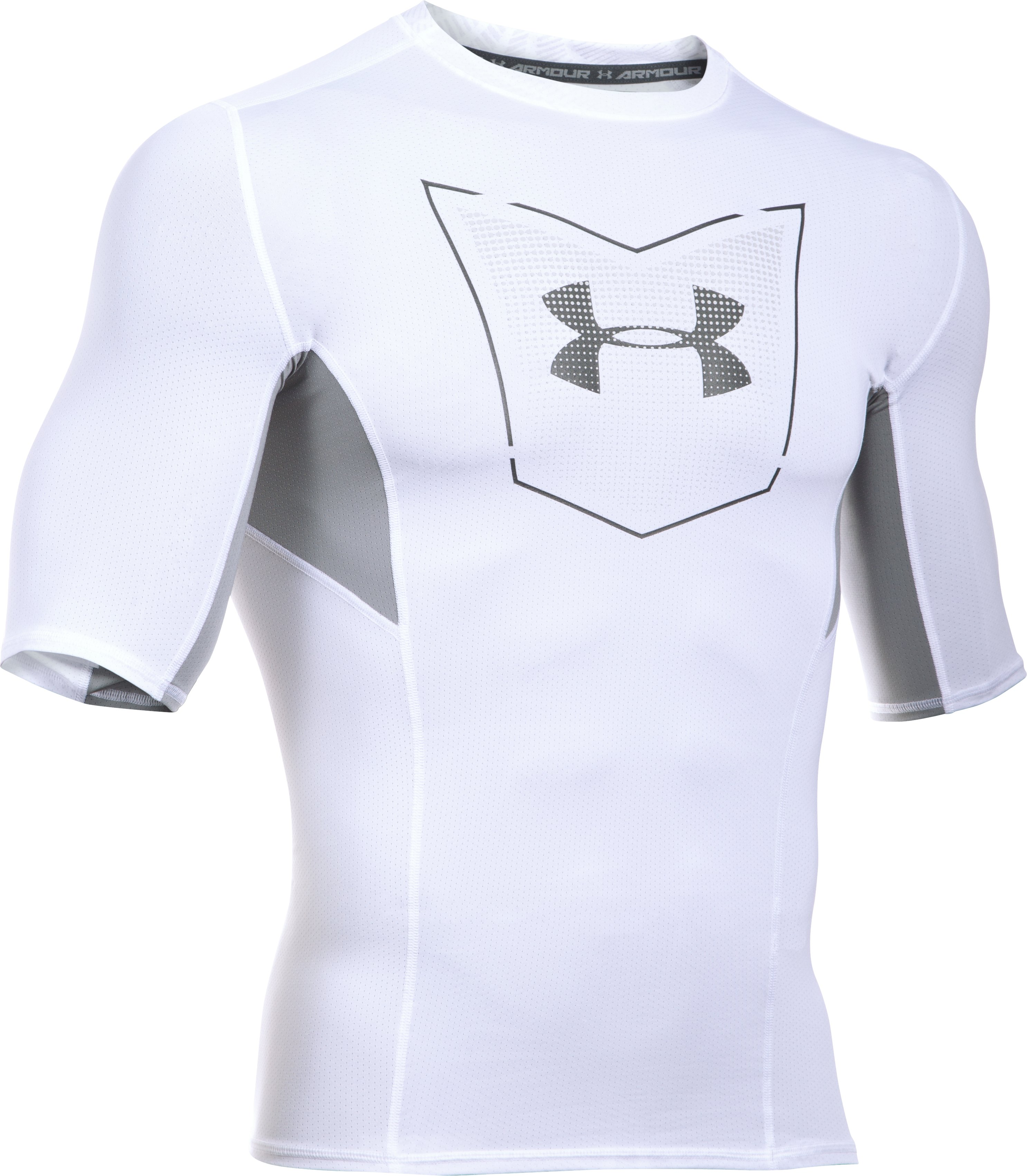 Men's UA Football CoolSwitch ½ Sleeve Compression Shirt, White, undefined