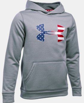 New Arrival Boys' UA Storm Armour® Fleece Big Flag Logo Hoodie   $44.99