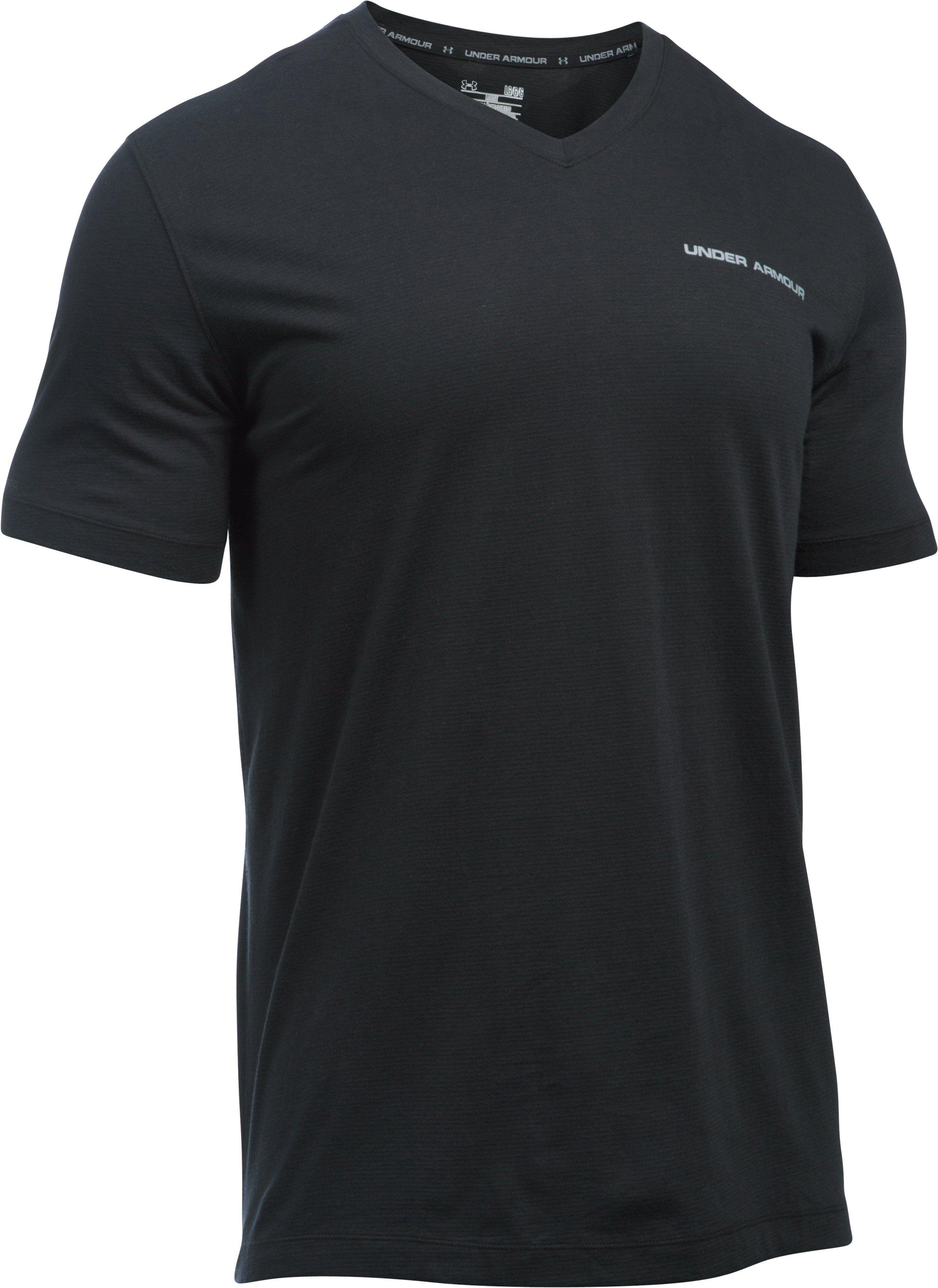 Men's Charged Cotton® V-Neck, Black , undefined