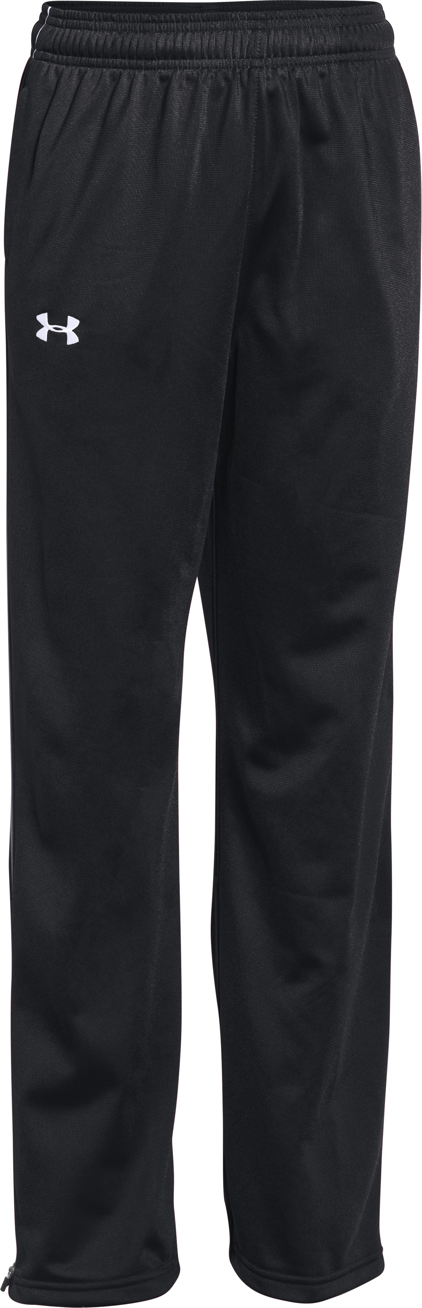 Boys' UA Rival Knit Warm Up Pants, Black , undefined