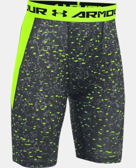 New Arrival Boys' UA HeatGear® Armour Up Printed Fitted Shorts – Long LIMITED TIME: FREE SHIPPING  $24.99