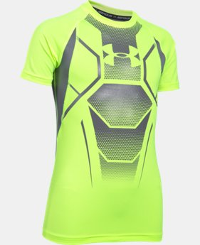 New Arrival Boy's UA HeatGear® Armour Up Shield Fitted Short Sleeve Shirt  1 Color $24.99