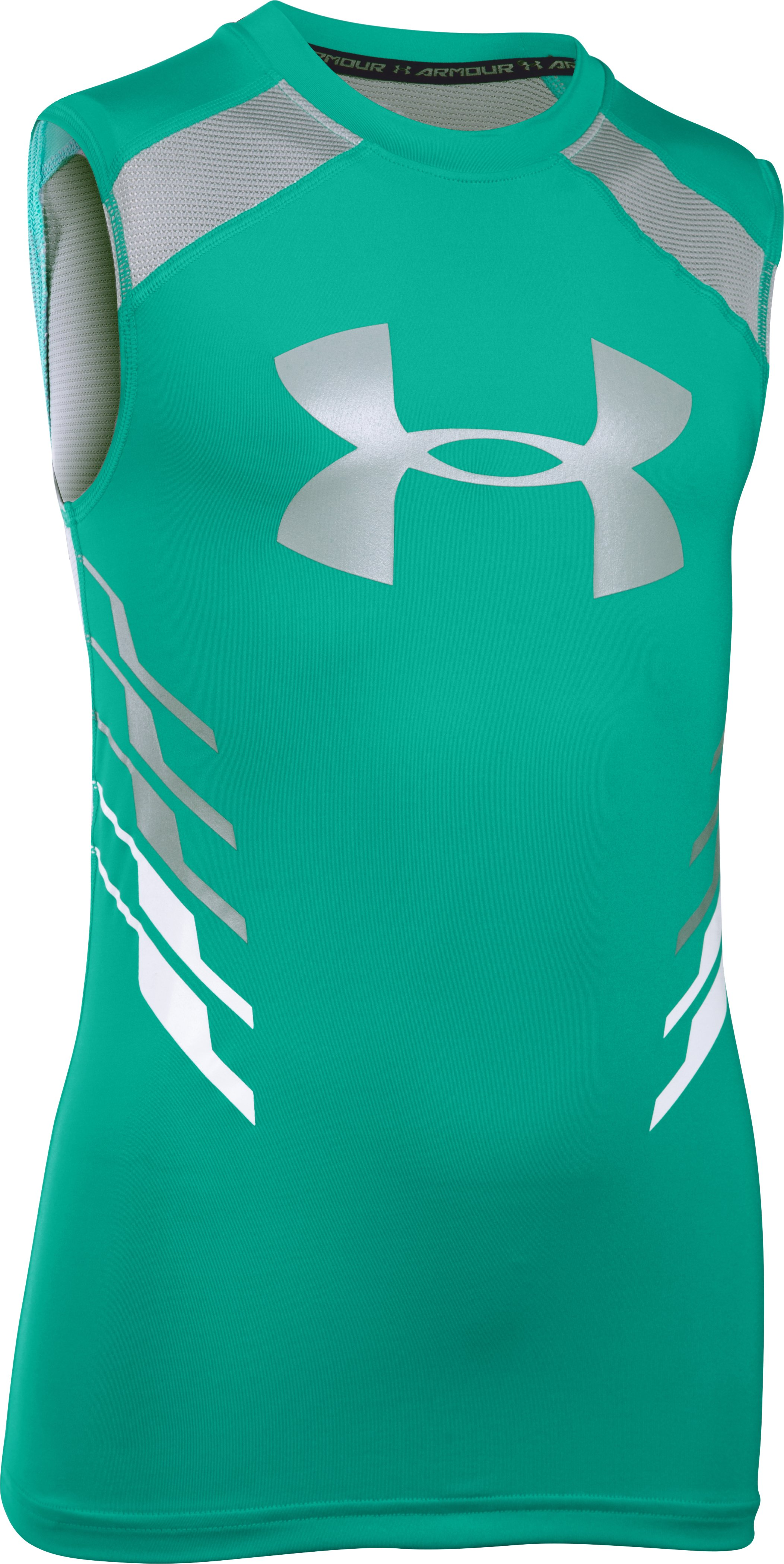 Boys' UA HeatGear® Armour Up Fadeaway Fitted Tank, GREEN MALACHITE