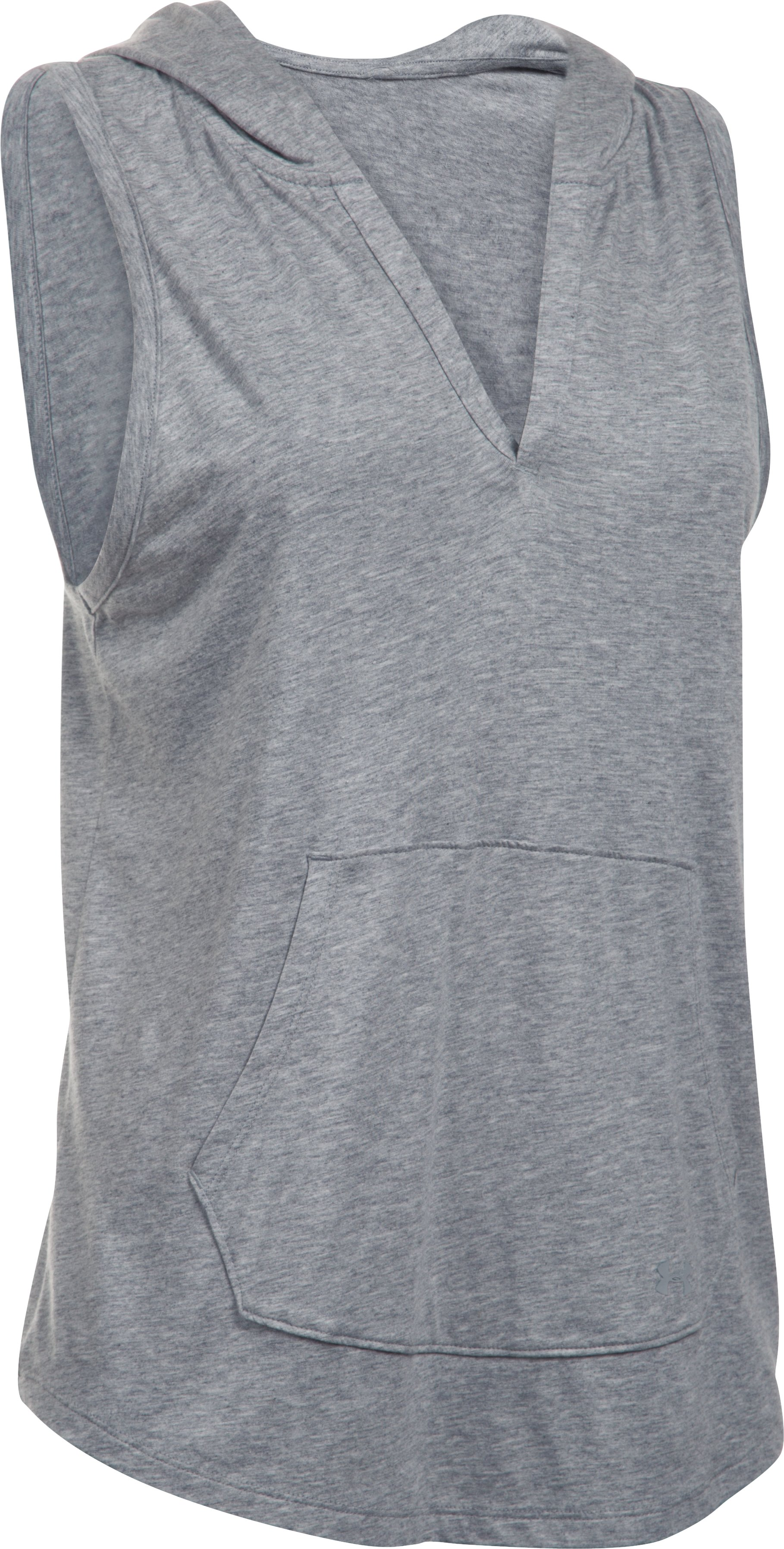 Women's UA Cotton Modal Sleeveless Hoodie, True Gray Heather, undefined