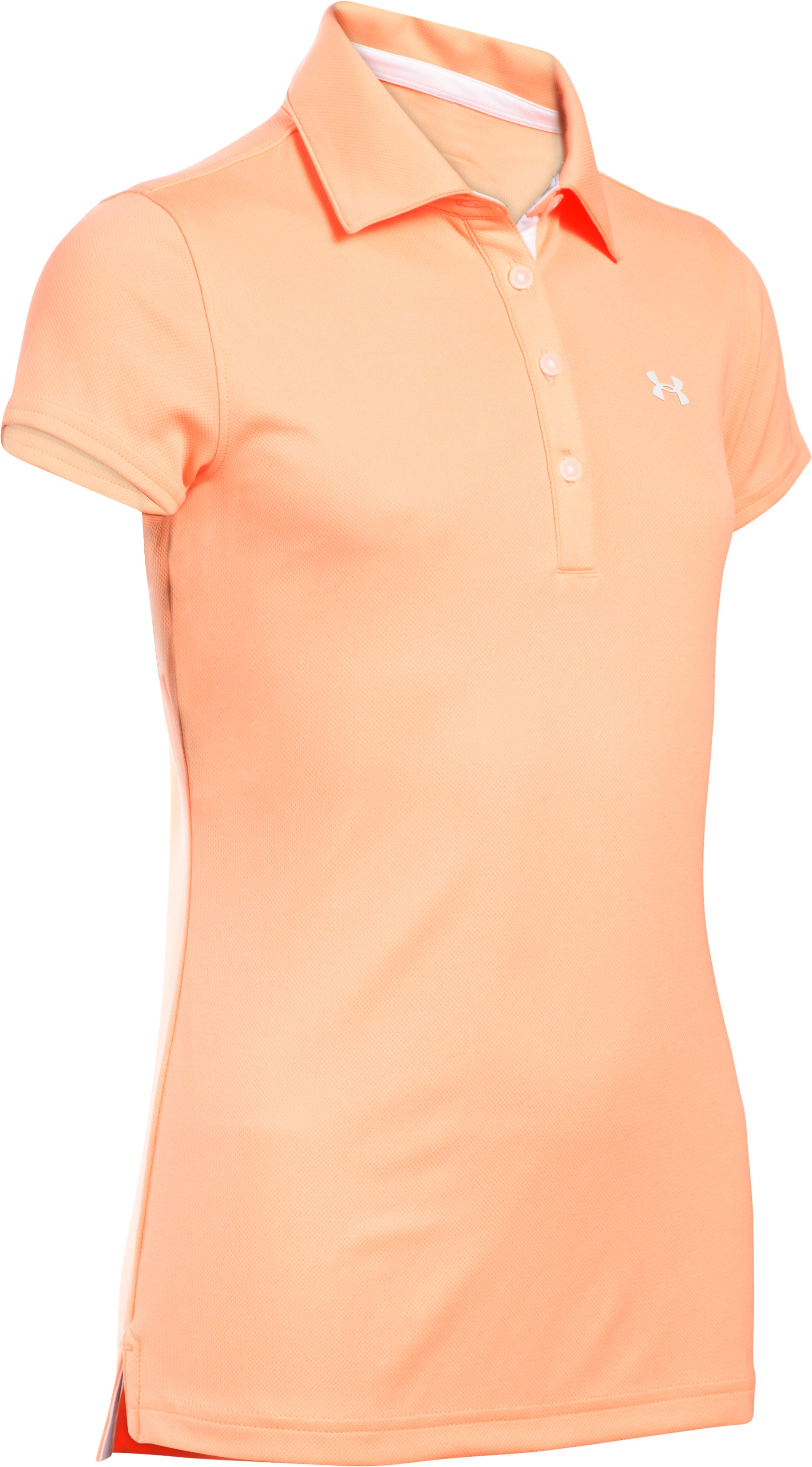 Girls' UA Play Up Polo, PEACH HORIZON, undefined