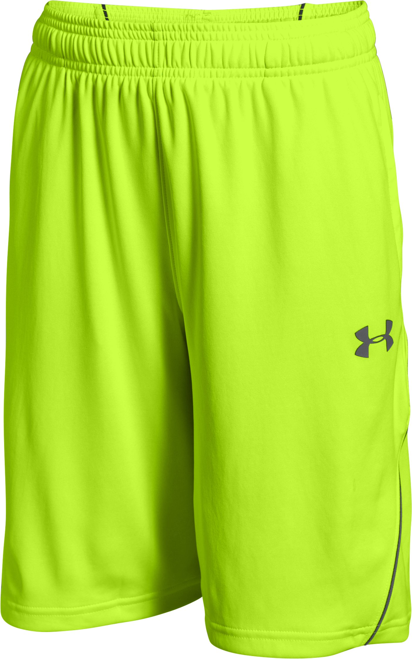 Boys' UA Never Back Down Shorts, FUEL GREEN, zoomed image