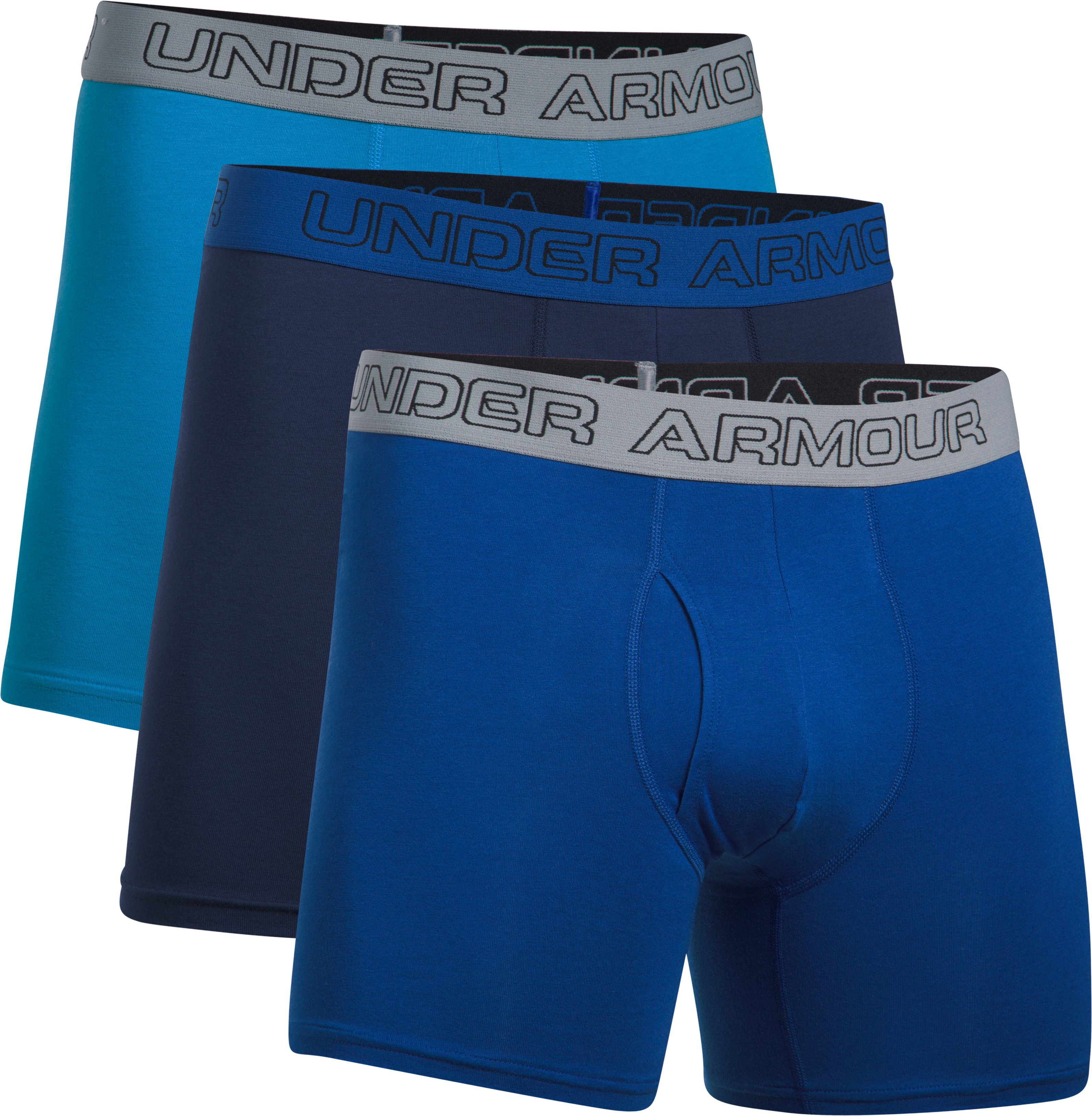 "Men's Charged Cotton® Stretch 6"" Boxerjock® – 3-Pack, BRILLIANT BLUE,"